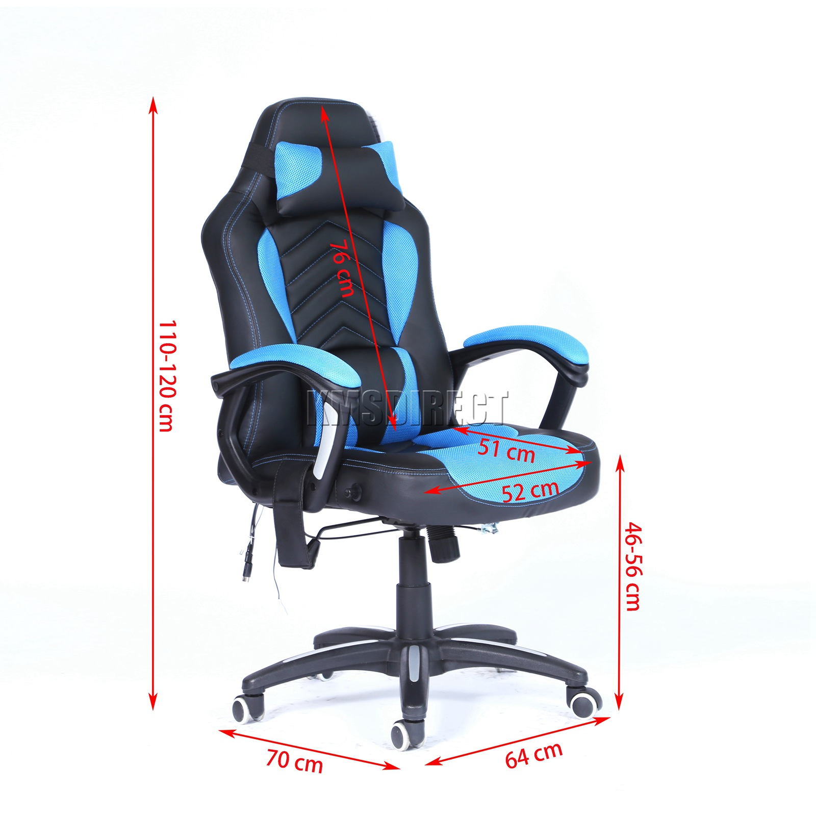 WestWood-Heated-Massage-Office-Chair-Gaming-amp-Computer-Recliner-Swivel-MC09 thumbnail 15