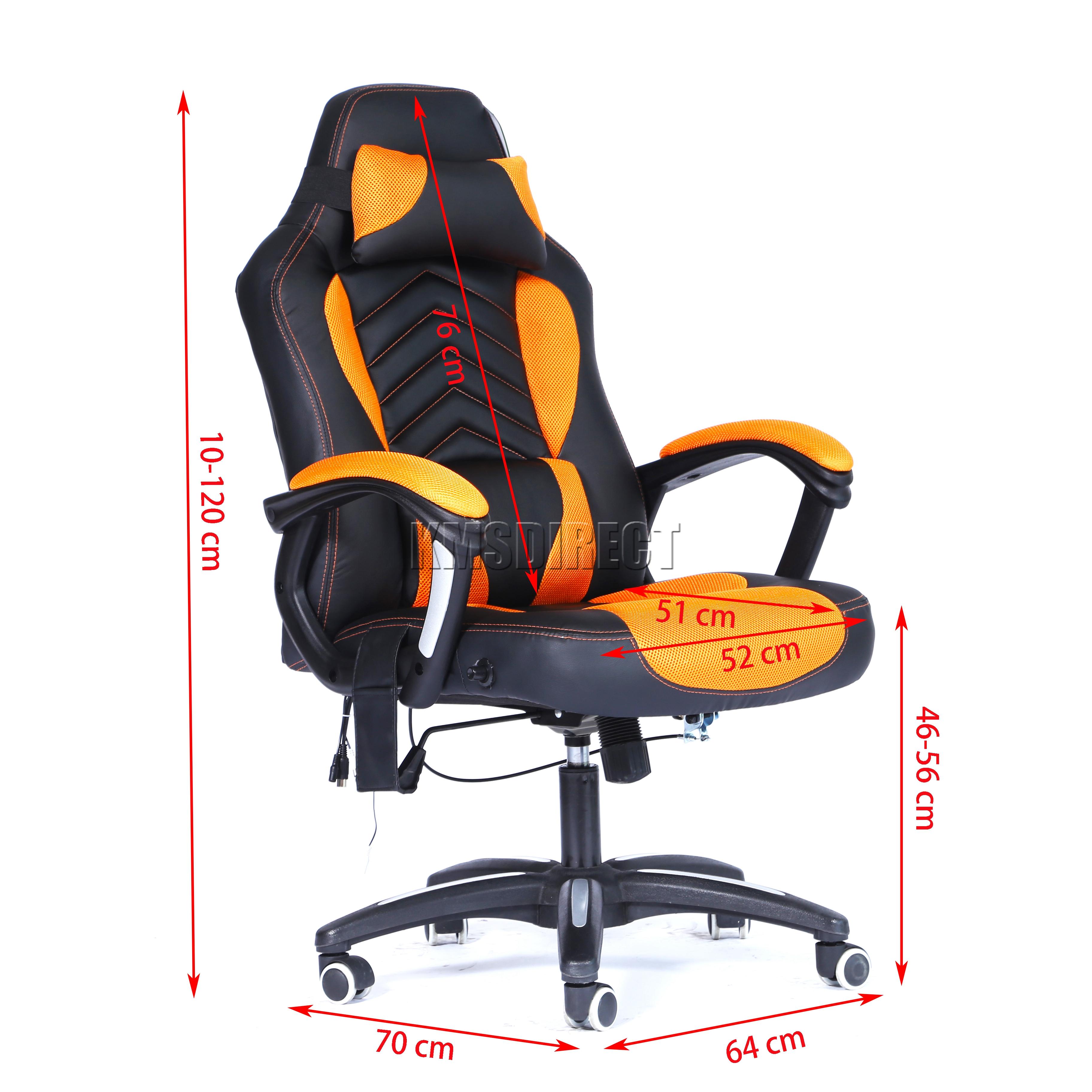 Sentinel Foxhunter Luxury 6 Point Massage Office Computer Chair Reclining Mc09 Orange New