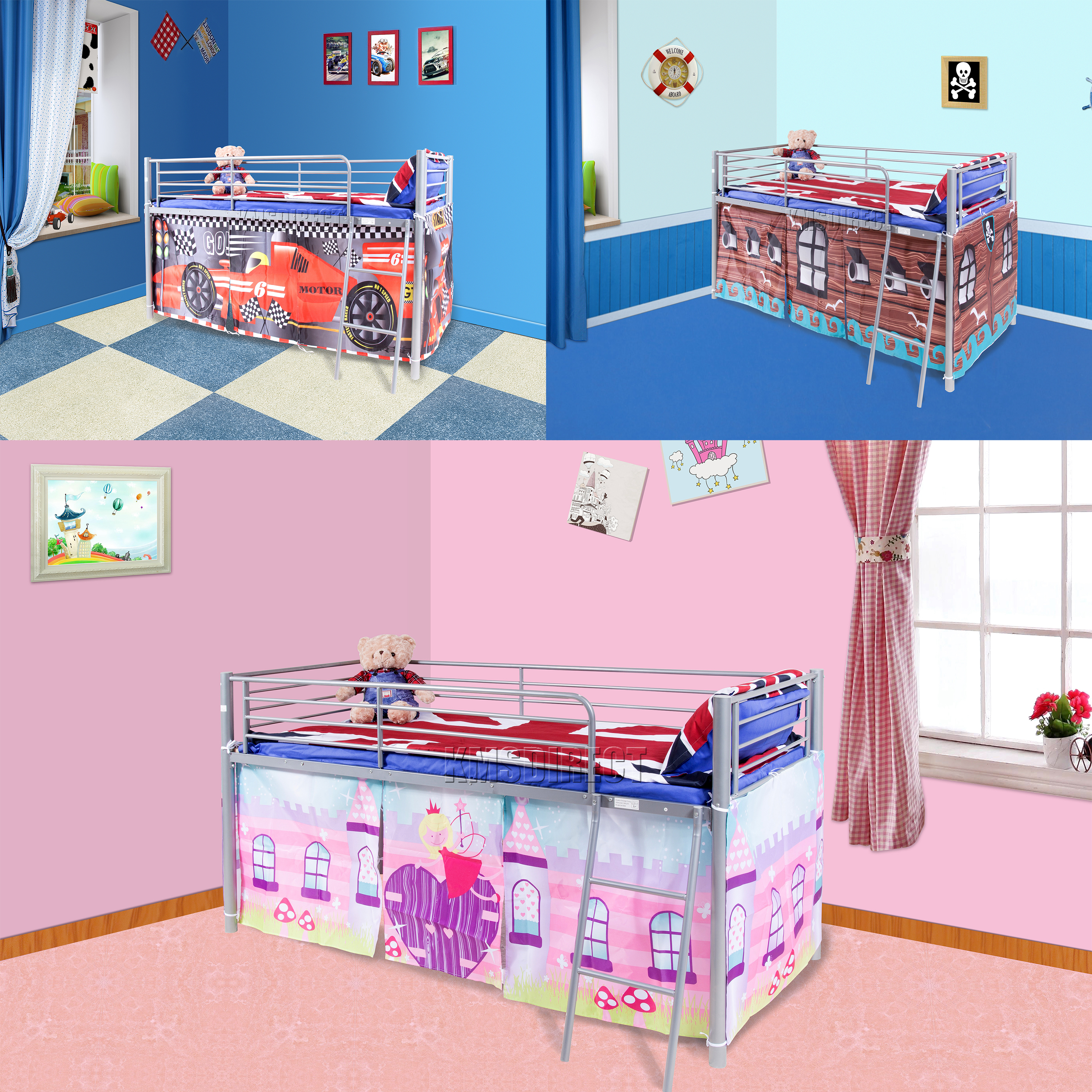 Picture of: Foxhunter Childrens Metal Mid Sleeper Cabin Bunk Bed Kids Tent Single 3ft New Ebay