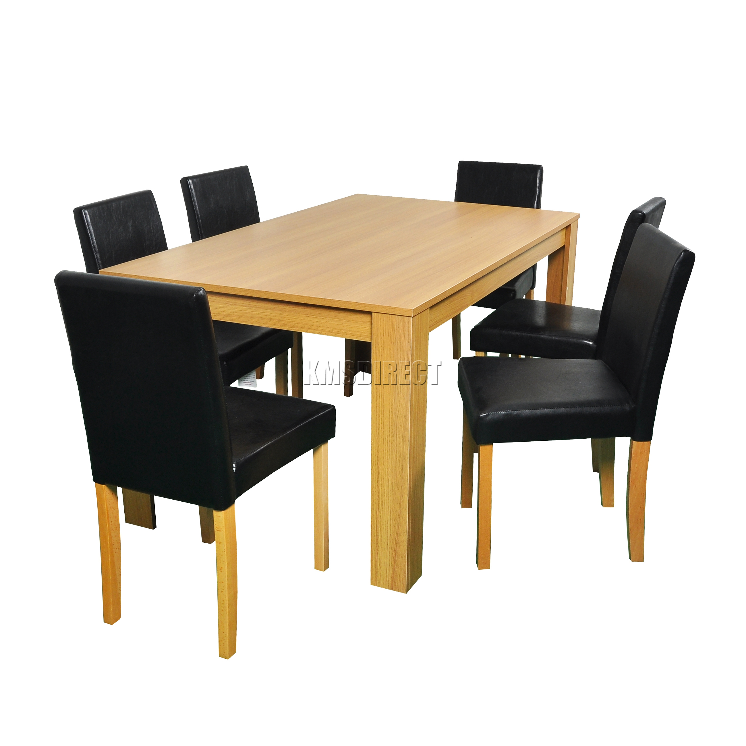 WestWood Wooden Dining Table And 4 Or 6 PU Faux Leather