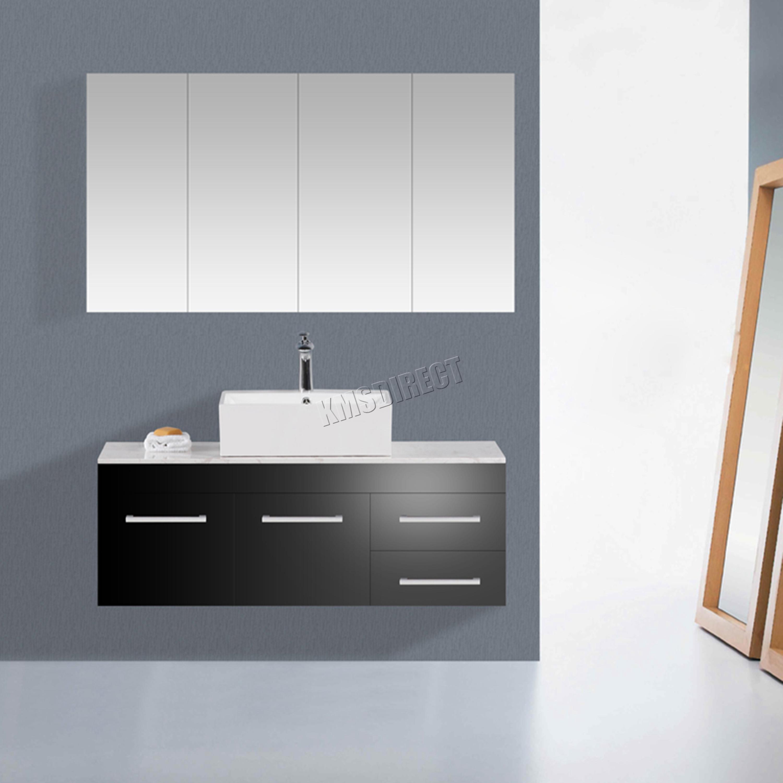 Sentinel FoxHunter Triple 4 Door Wall Mount Mirror Bathroom Cabinet Storage Cupboard BC03