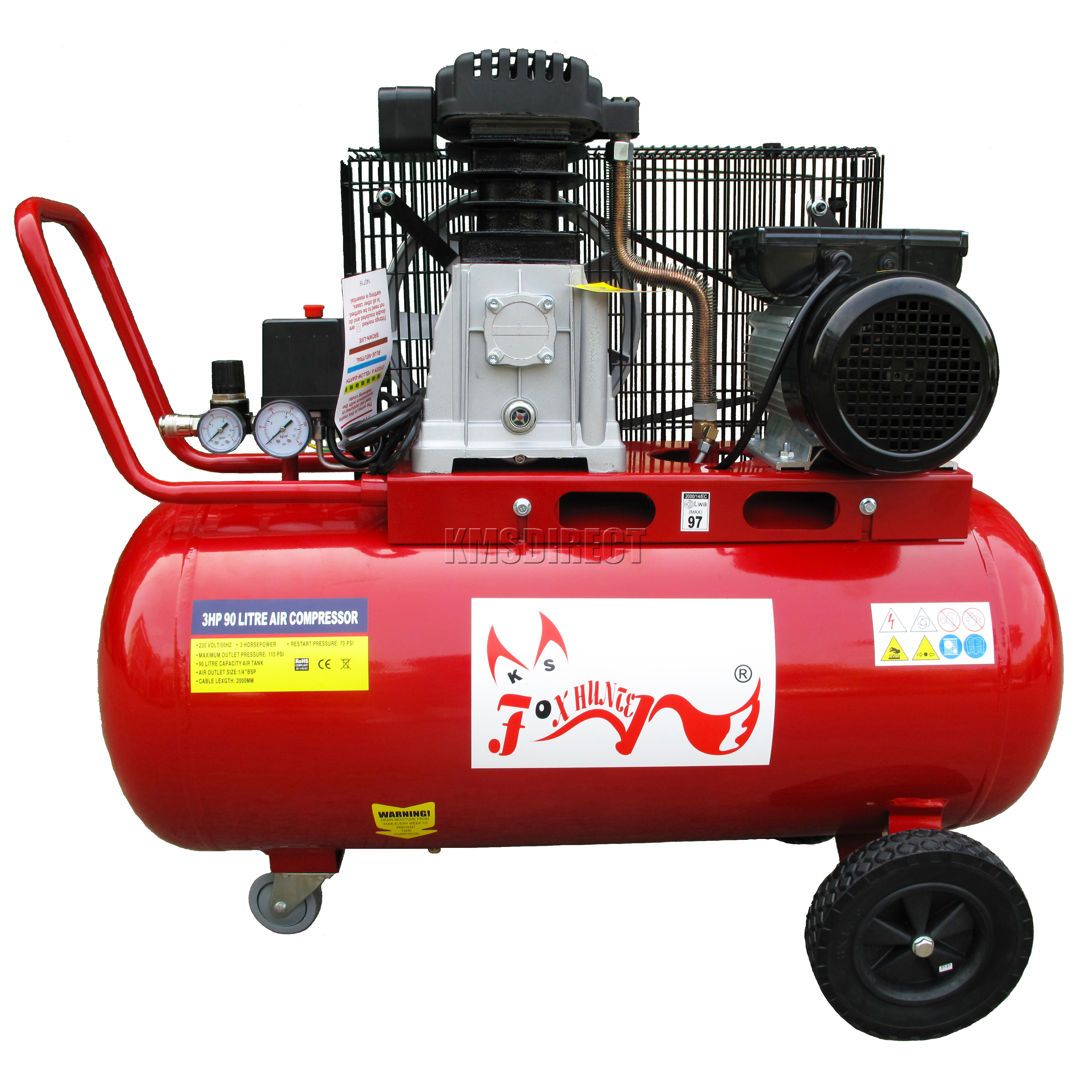 Foxhunter 90ltr 3hp Electric Air Compressor 20 Gallon 12