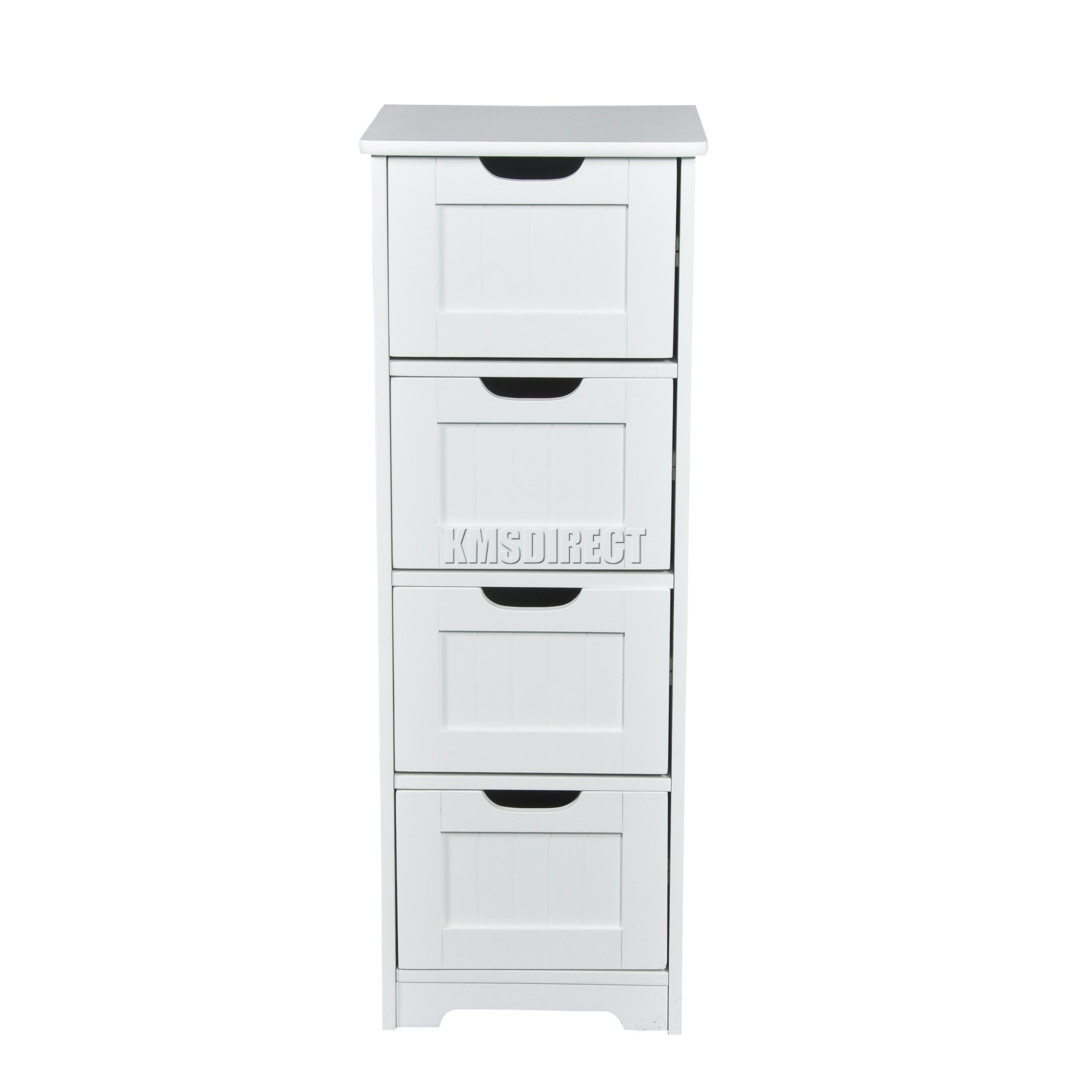 Foxhunter White Wooden 4 Drawer Bathroom Storage Cupboard
