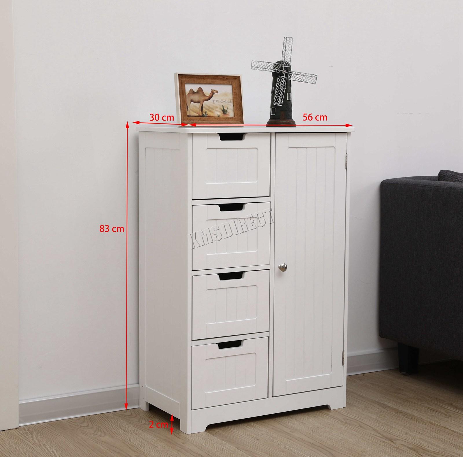Details About Westwood Bathroom Storage Cabinet Wooden 4 Drawer Cupboard Free Standing Unit