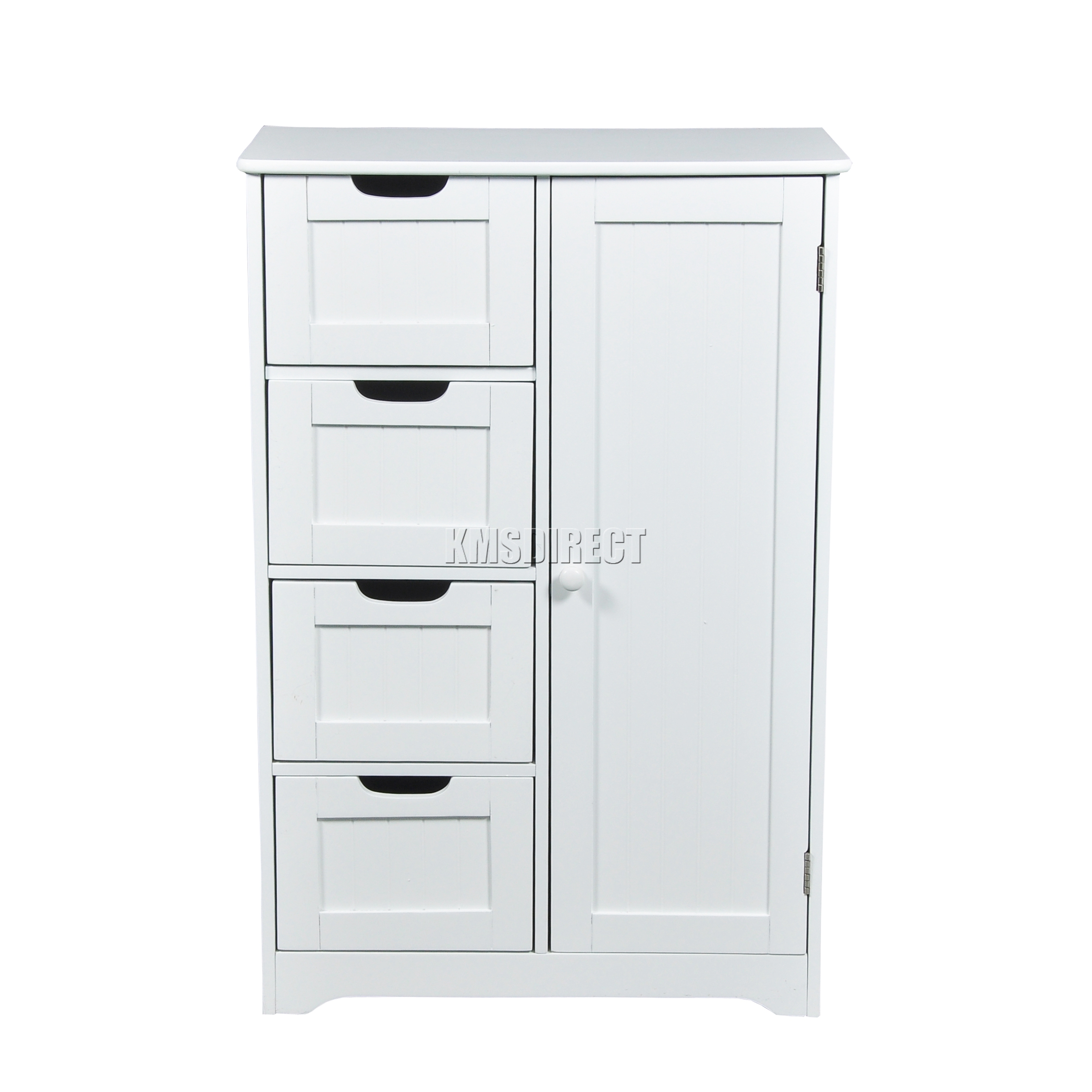 Foxhunter White Wooden 4 Drawer Bathroom Storage Cupboard Cabinet Standing Unit Ebay