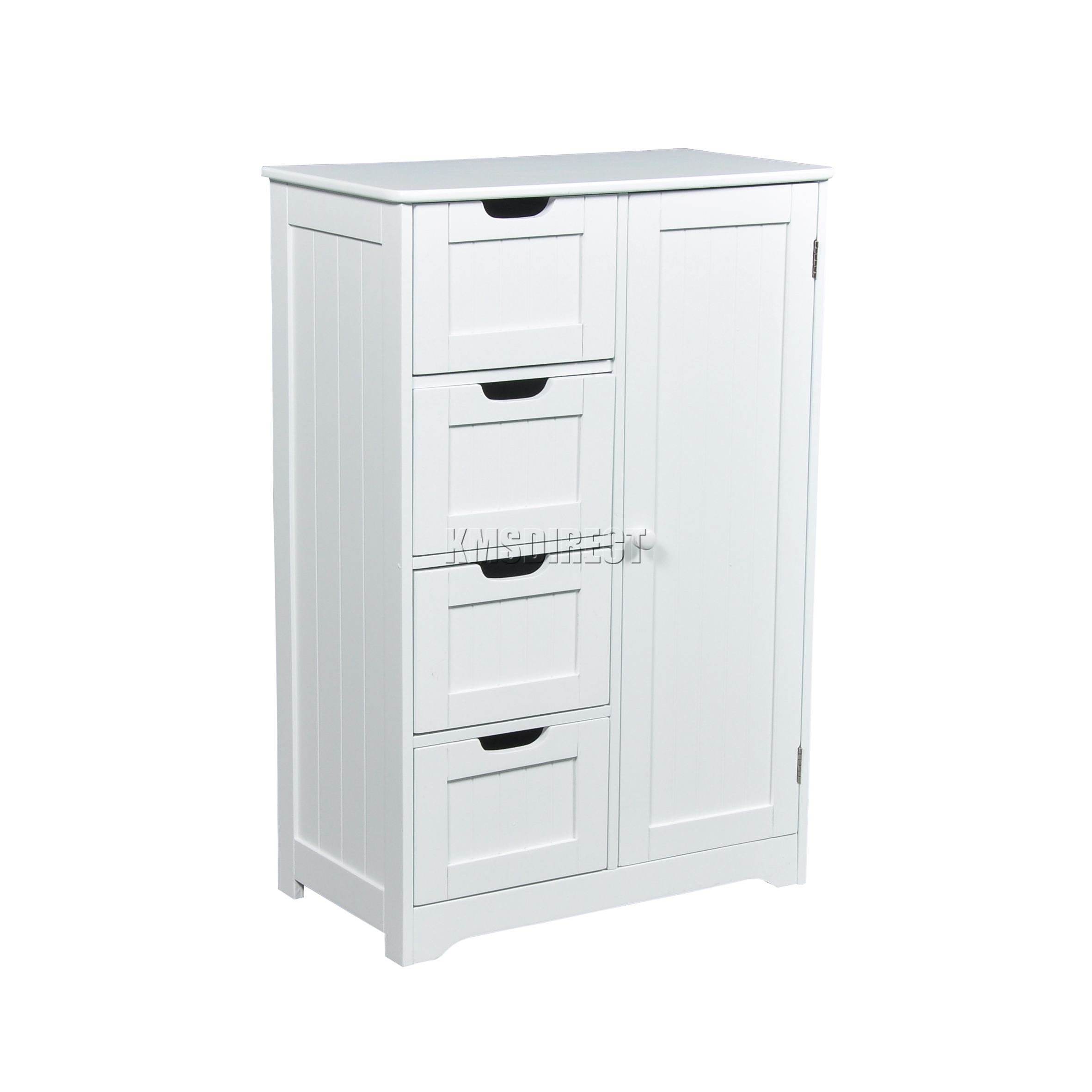 Kitchen Cabinets Or Open Shelving We Asked An Expert For: FoxHunter White Wooden 4 Drawer Bathroom Storage Cupboard