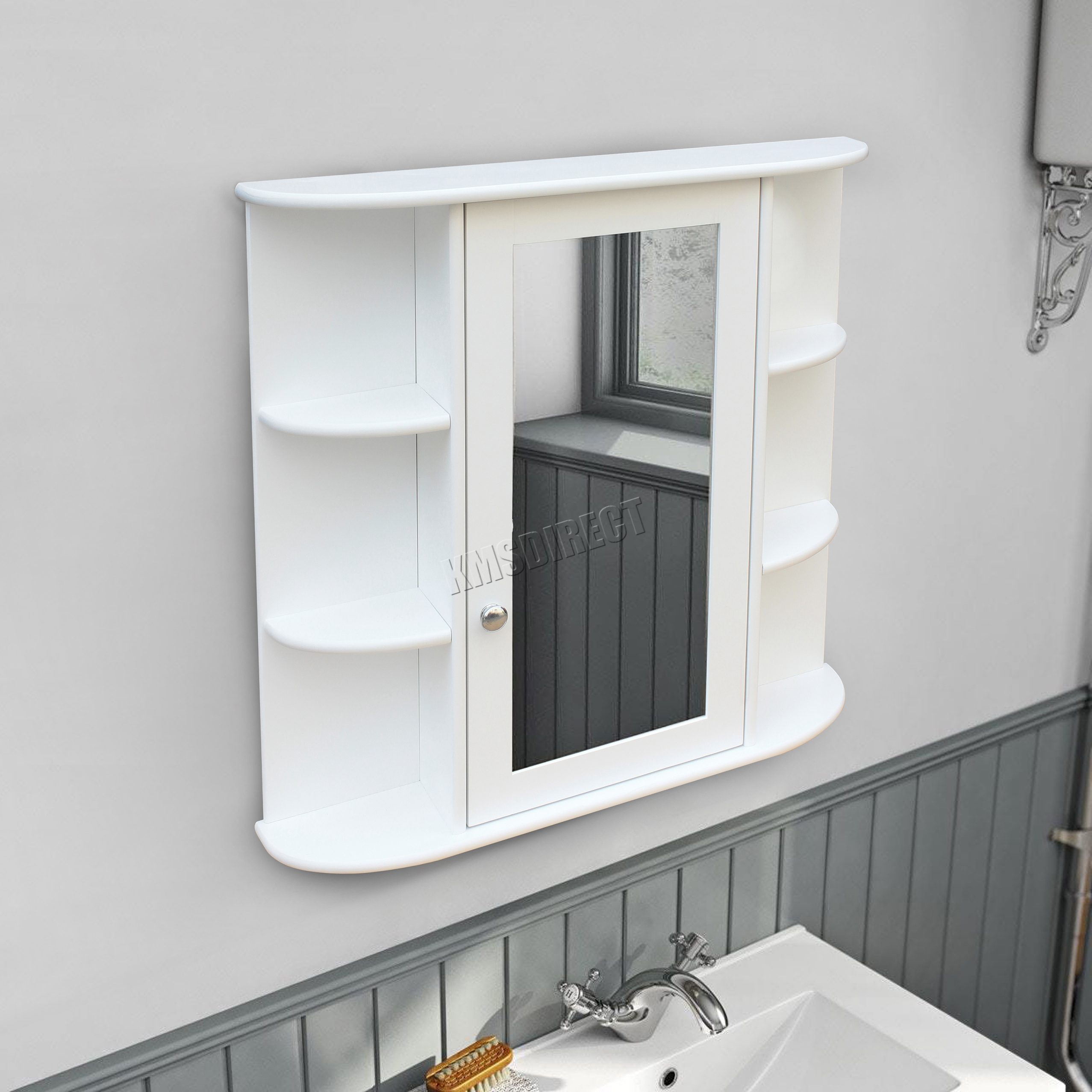 cabinet mount cupboard wall unit tall storage sentinel shelving wooden bathroom shelf westwood itm white