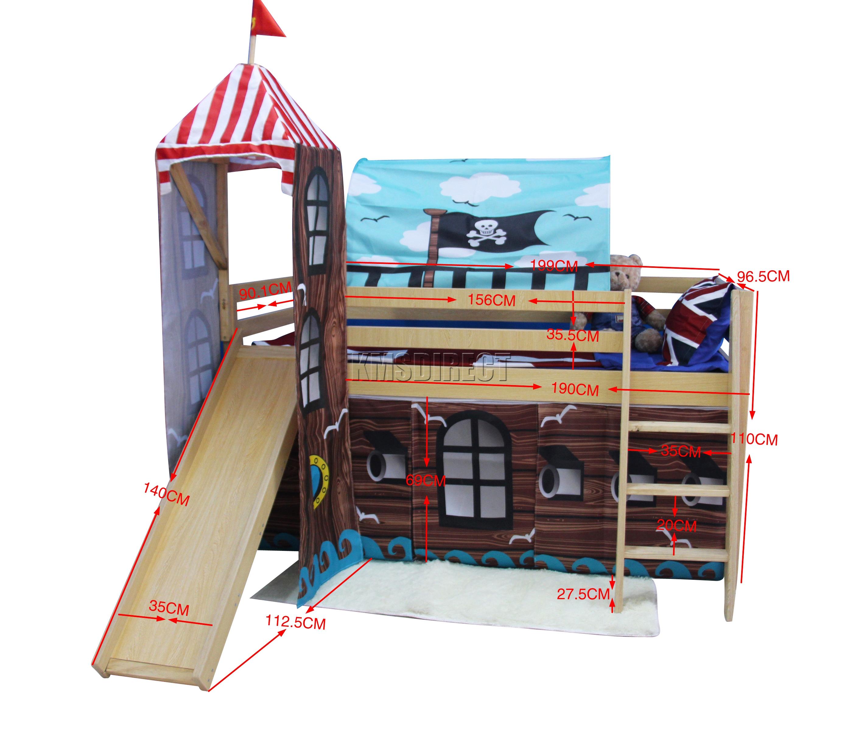 Foxhunter Wood Mid Sleeper Cabin Bunk Bed Kids Tent Slide