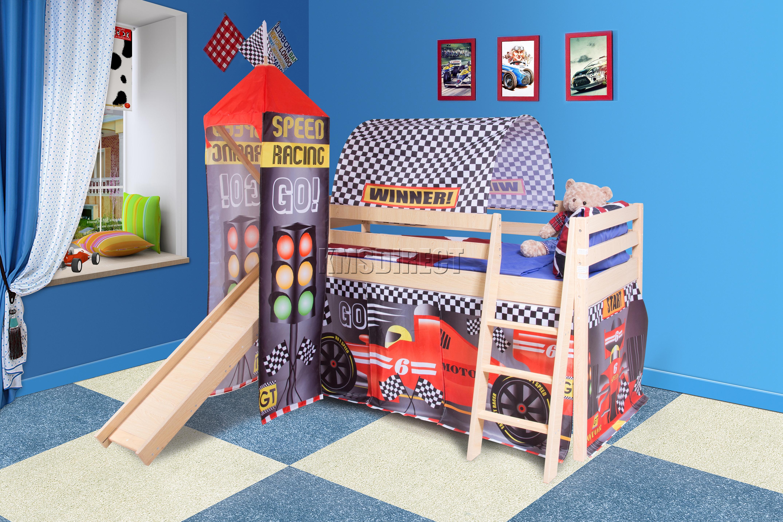 Foxhunter Wooden Mid Sleeper Cabin Bunk Bed Kids Tent