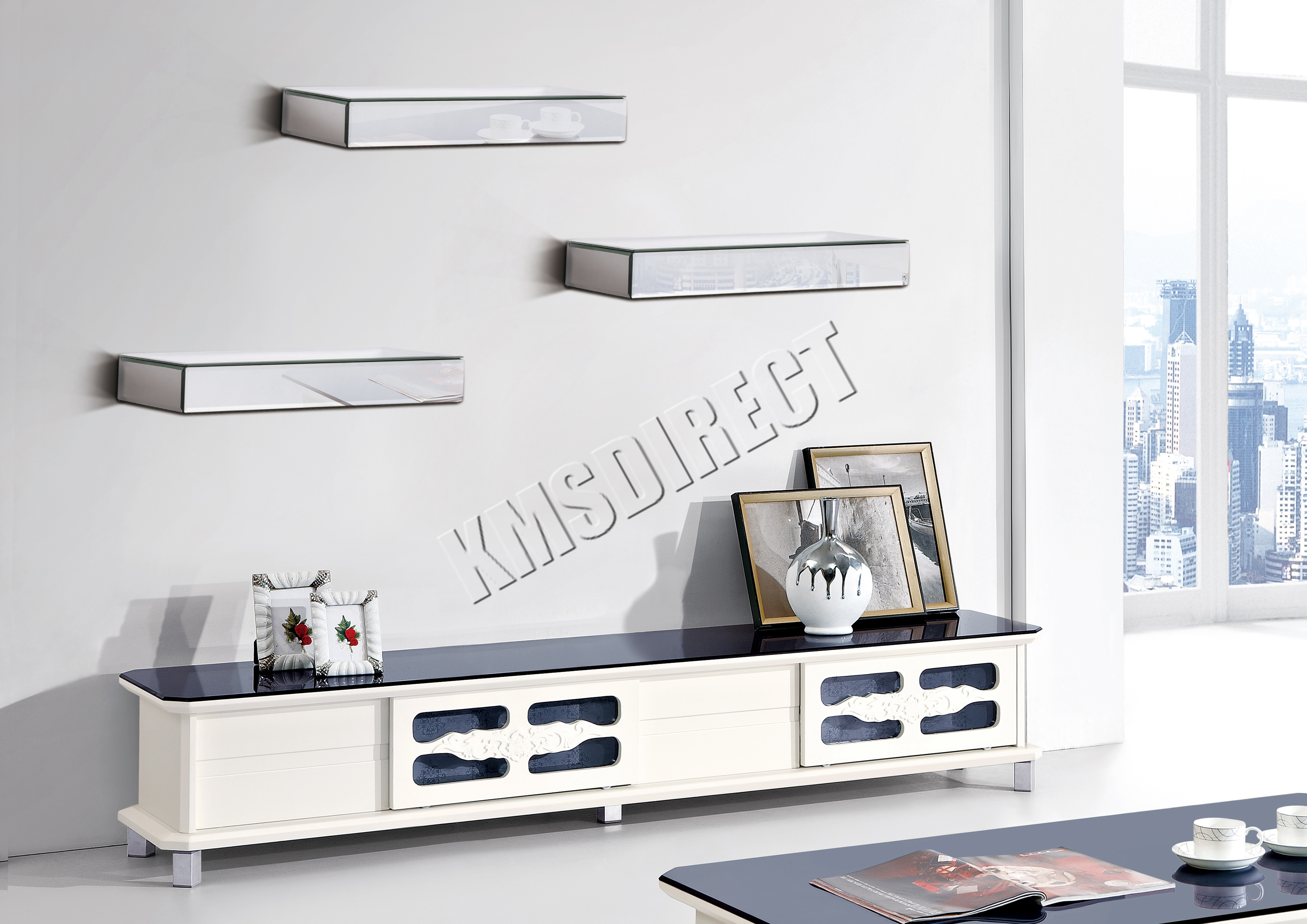 Sentinel FoxHunter Bevelled Mirrored Furniture Glass Floating Shelves 3 Set  Wall Storage