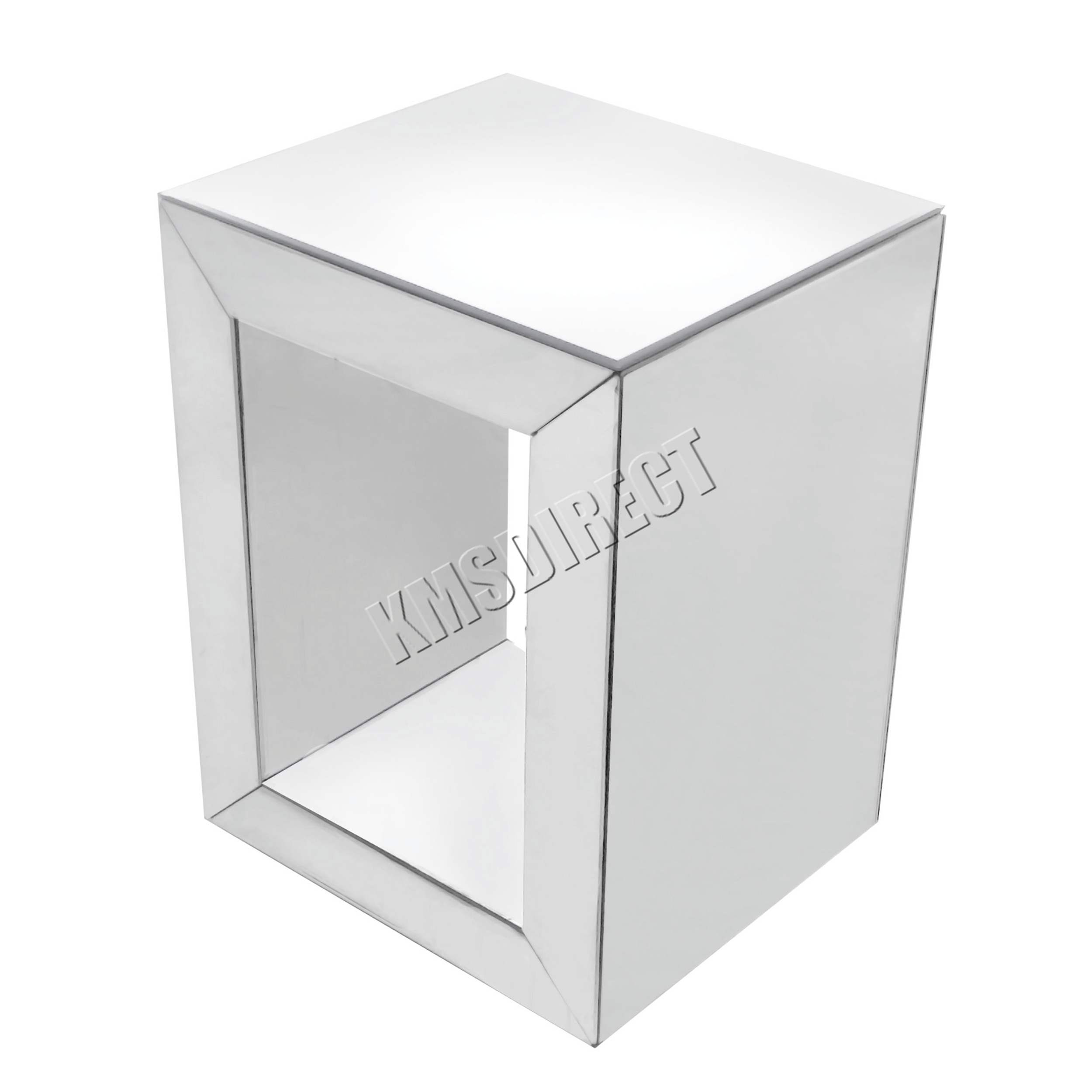 Sentinel WestWood Mirrored Furniture Clear Glass Bedside Cabinet Cube Table  Bedroom MT03