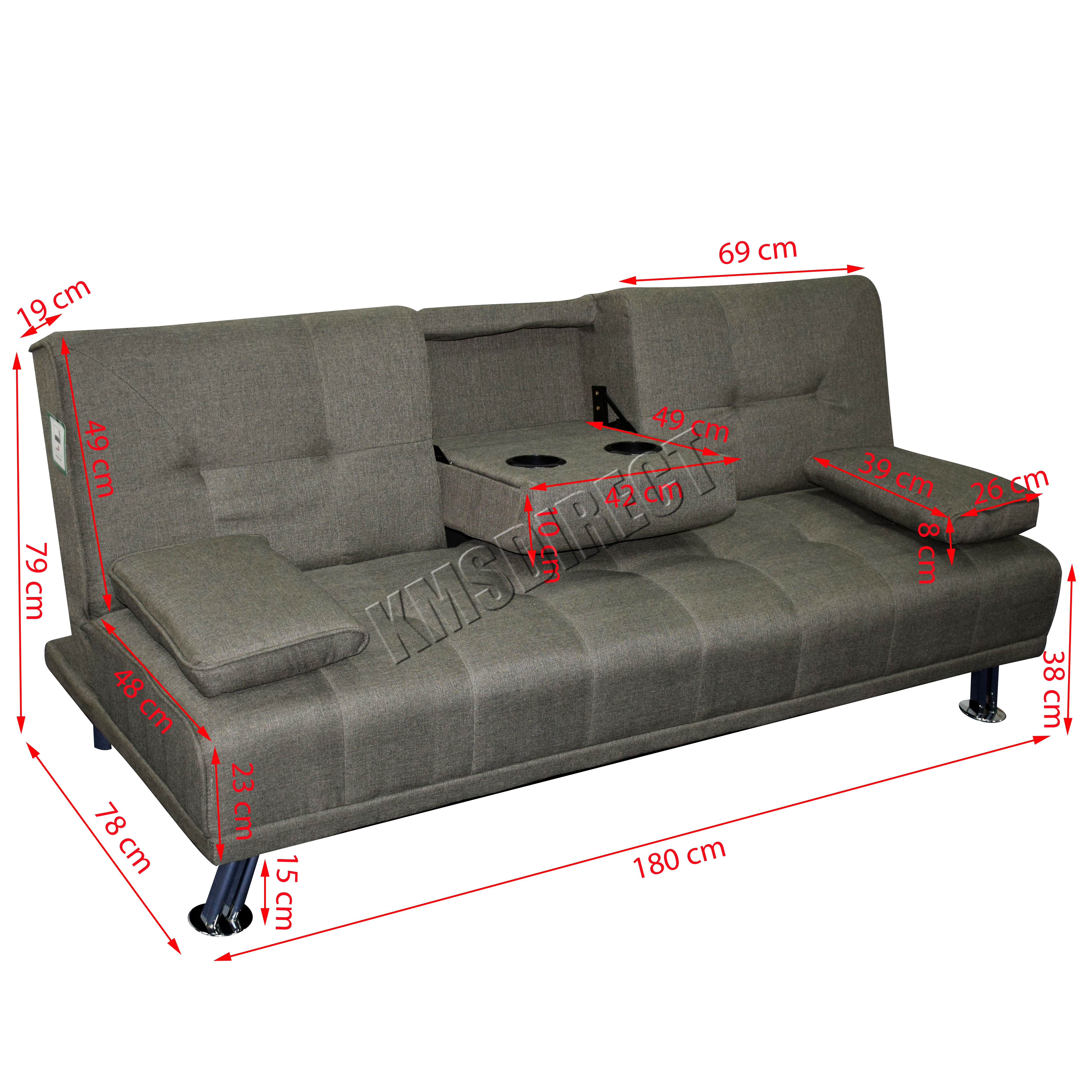 Foxhunter fabric manhattan sofa bed recliner 3 seater for Sofa bed 180cm