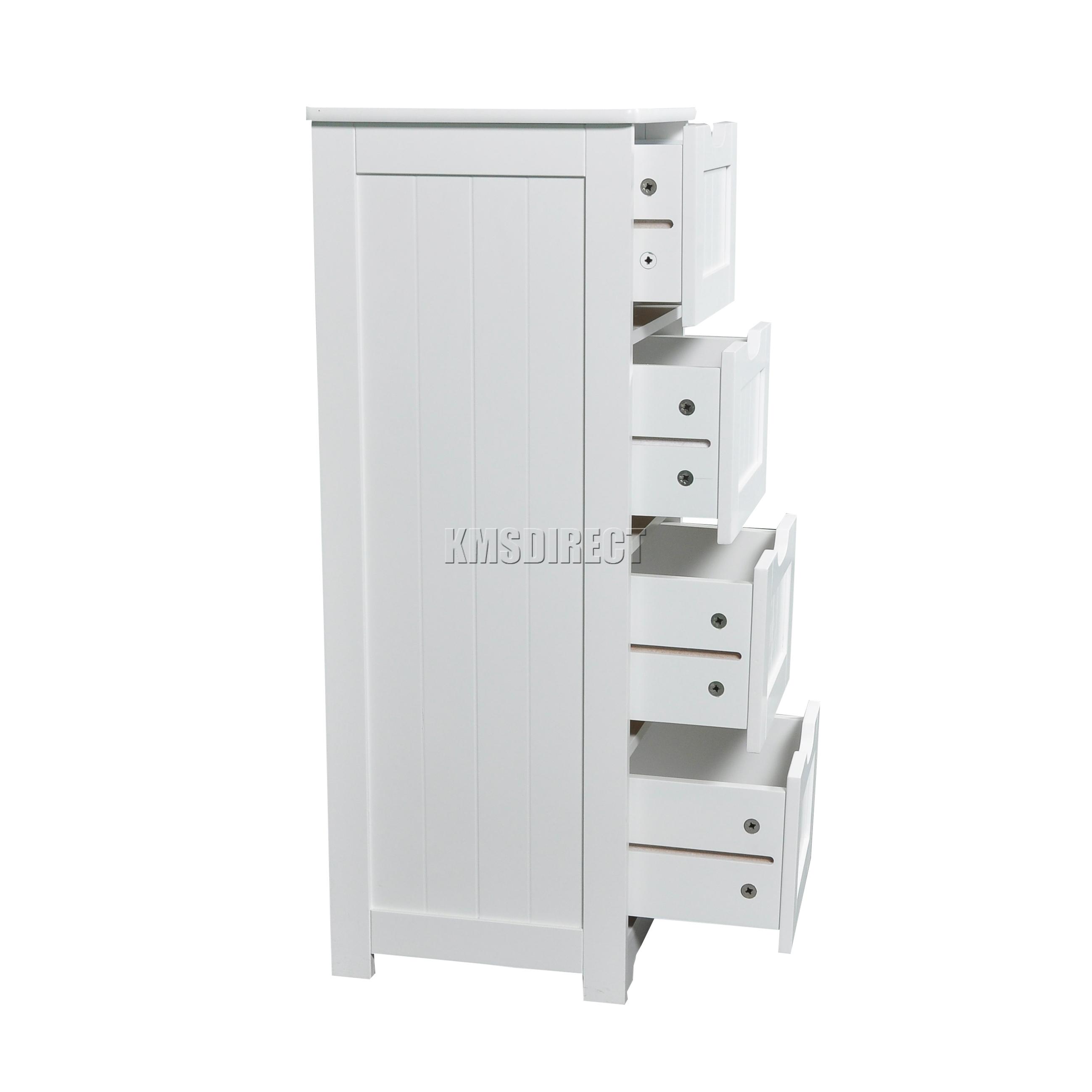 Wooden Bathroom Organizer: FoxHunter White Wooden 4 Drawer Bathroom Storage Cupboard