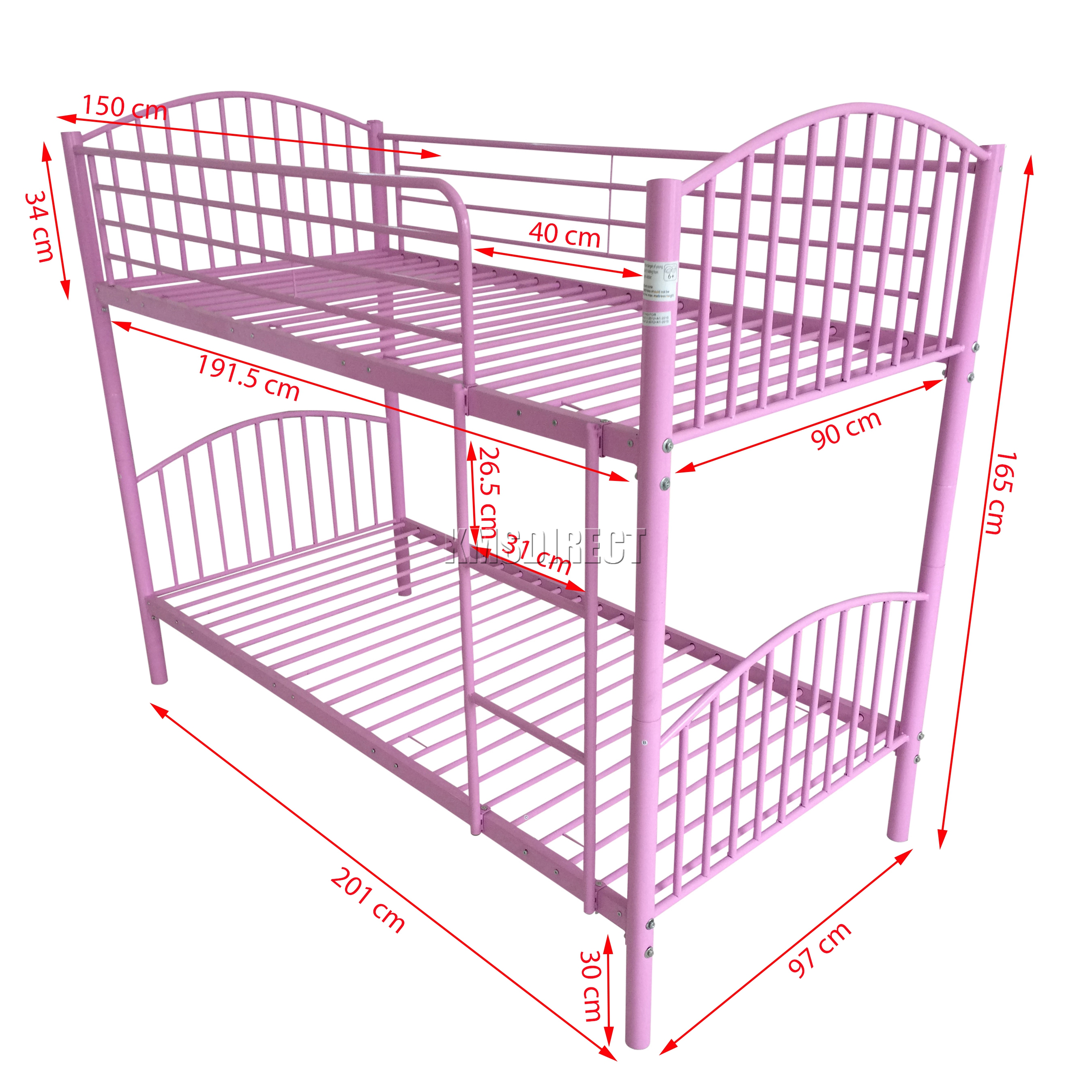 Foxhunter 3ft Single Metal Frame Bunk Bed Children Kids