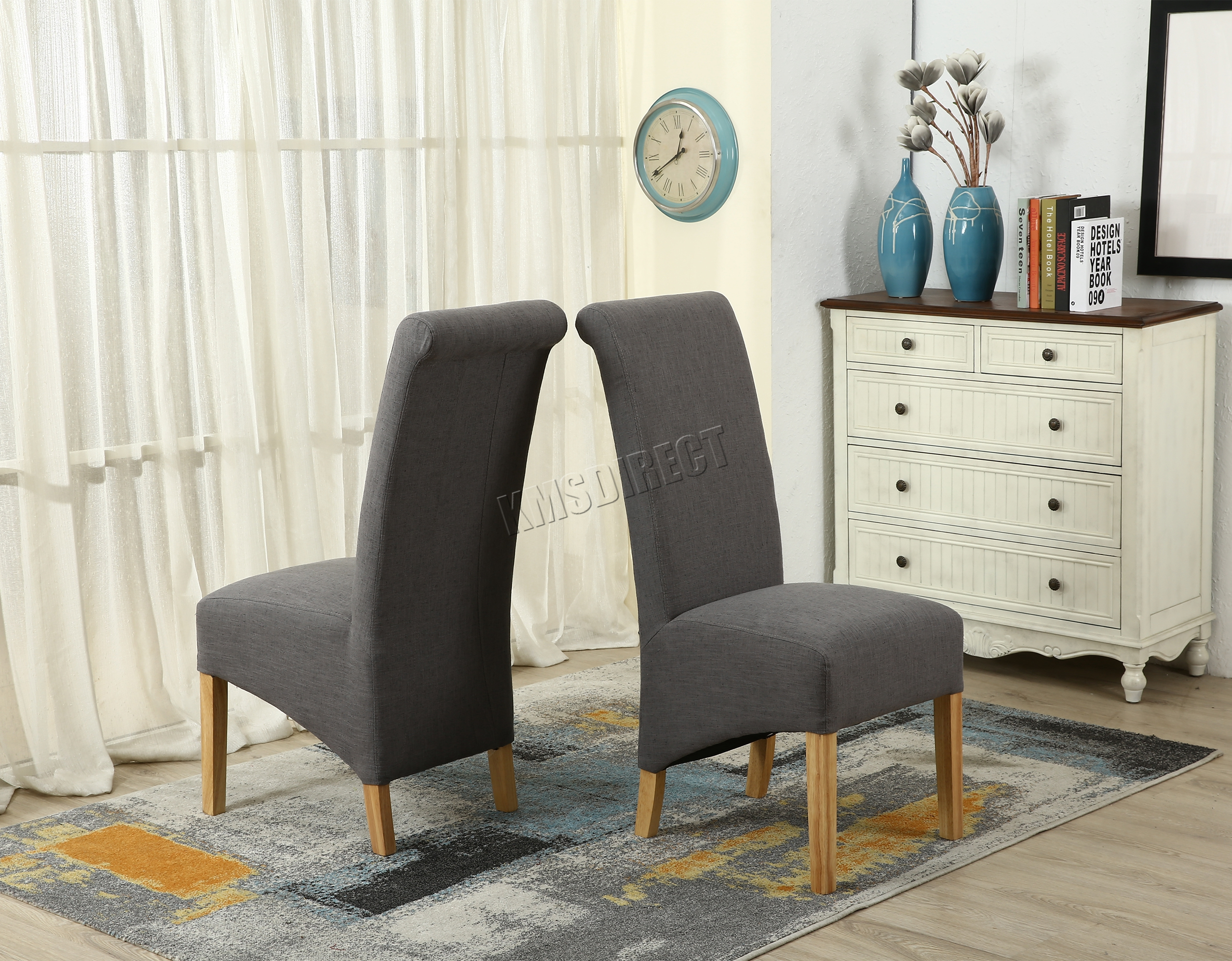 Sentinel WestWood Grey Linen Fabric Dining Chairs Scroll High Back Springed  Seat New X2