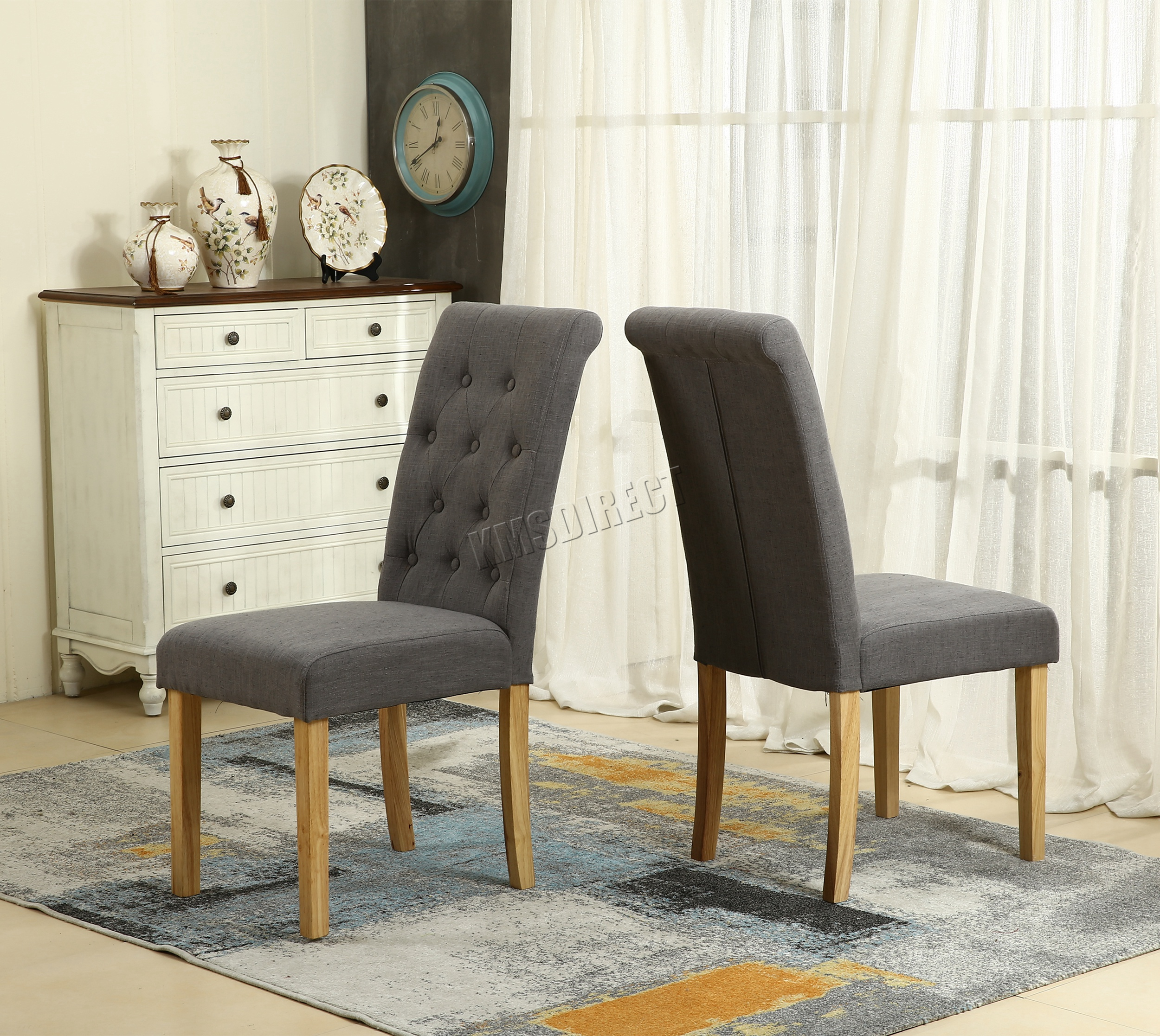 Westwood Grey Linen Fabric Dining Chairs Scroll High Back