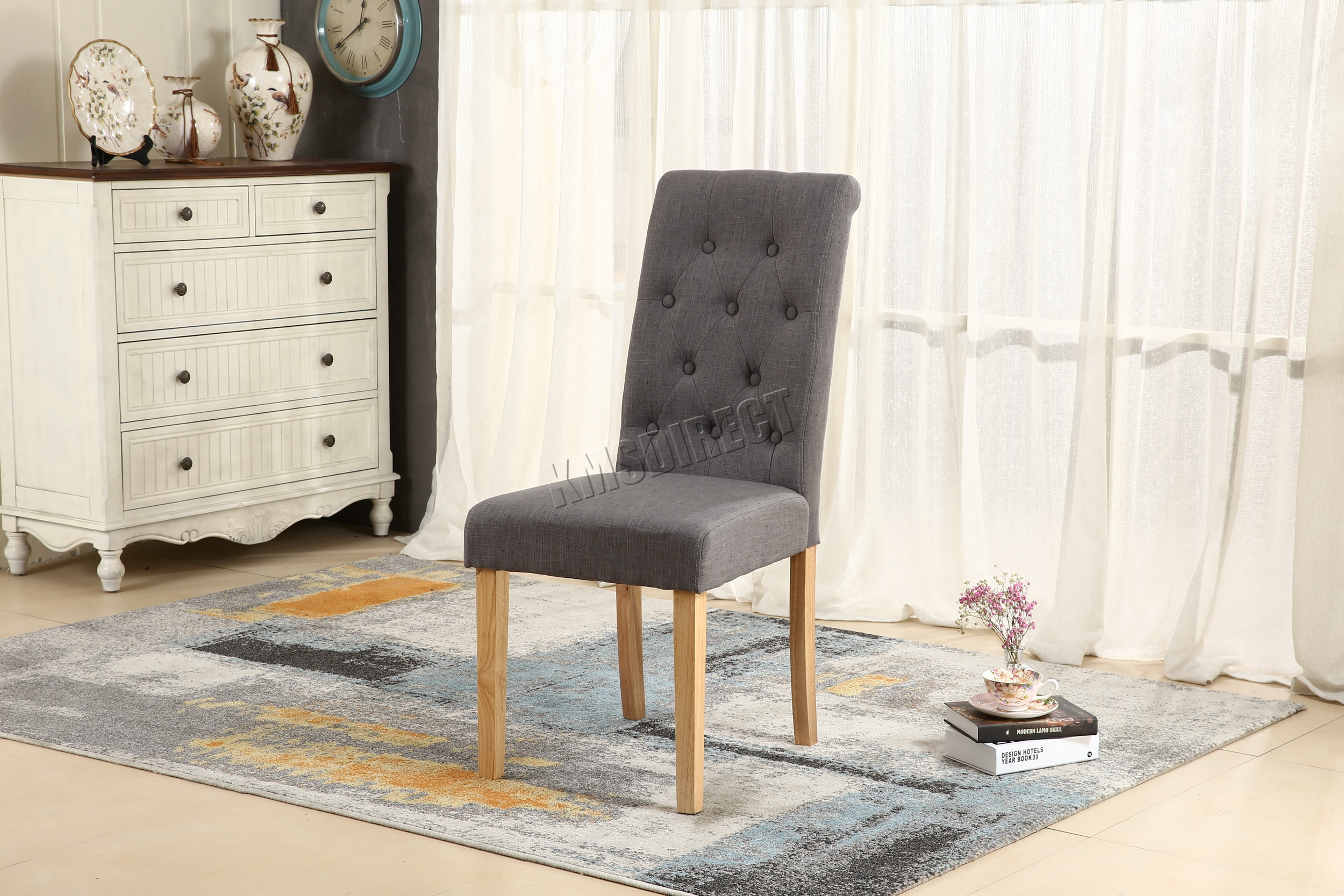 WestWood Grey Linen Fabric Dining Chairs Scroll High Back fice