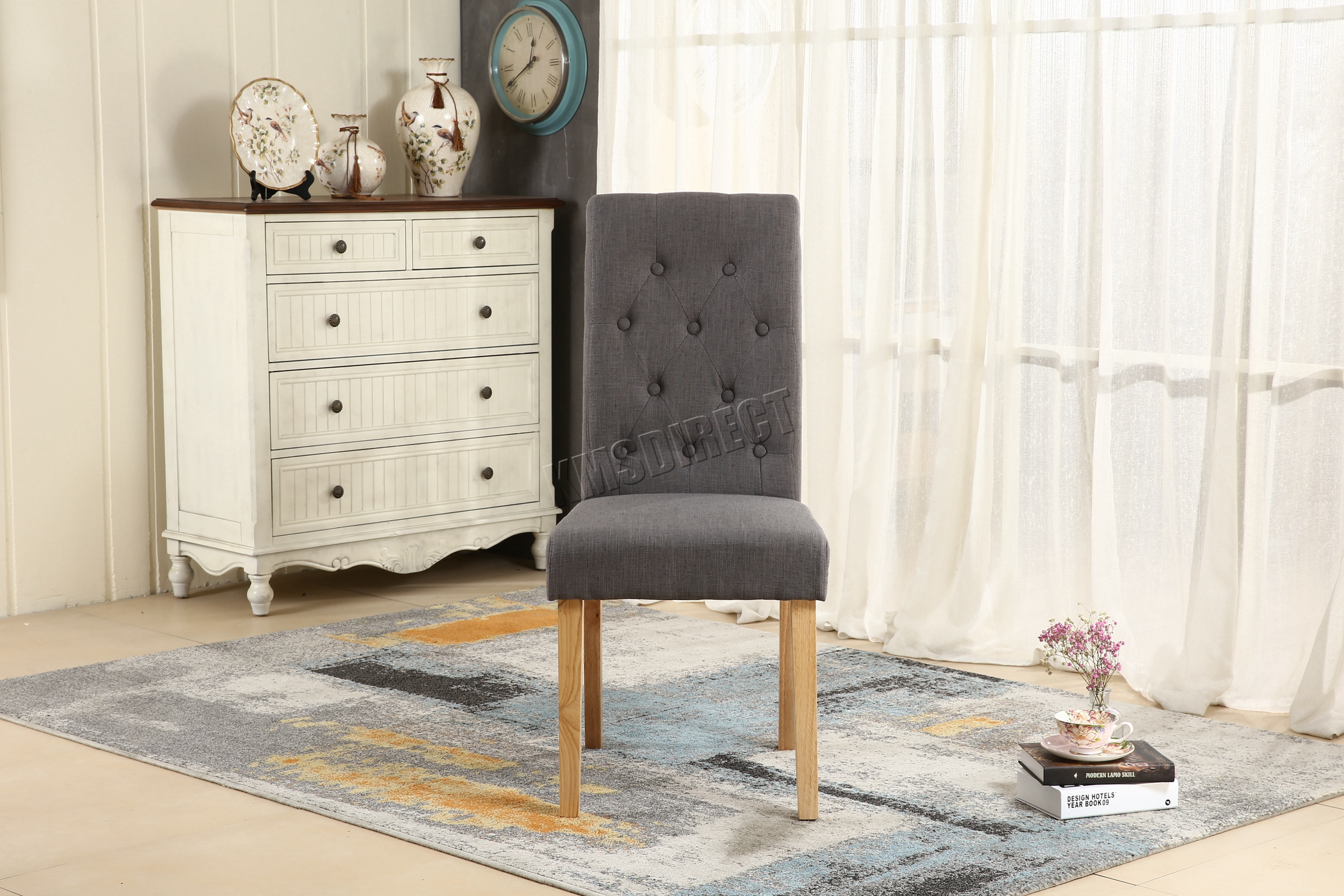 FoxHunter Grey Linen Fabric Dining Chairs Scroll High Back fice