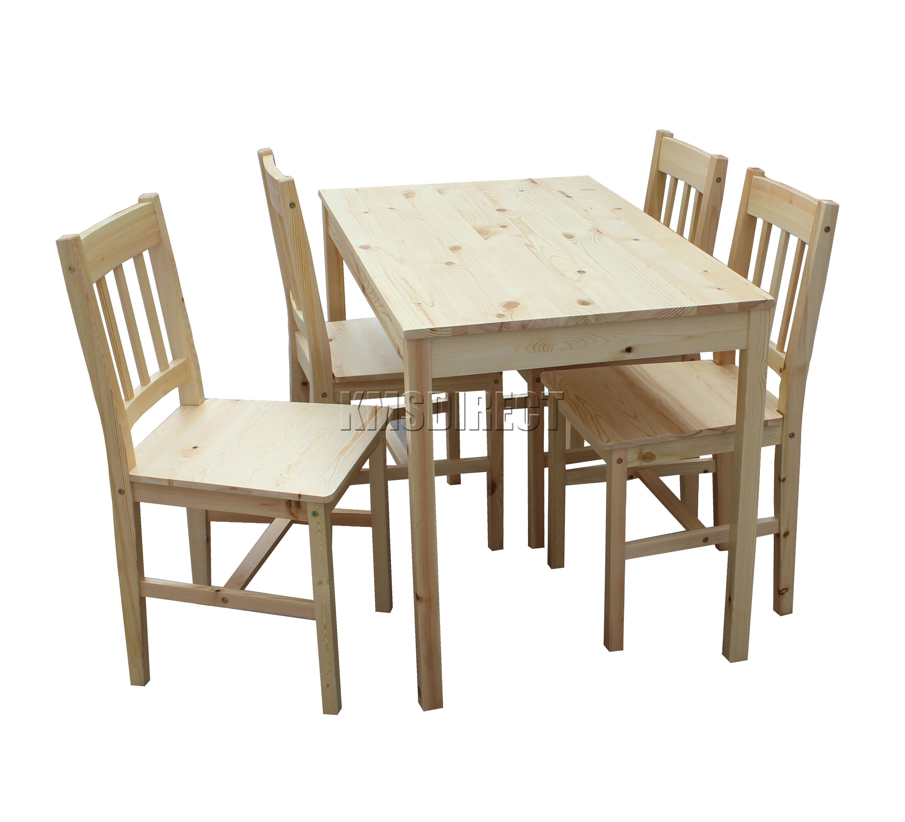Solid Wood Kitchen Table Sets: WestWood Solid Wooden Dining Table With 4 Chairs Set
