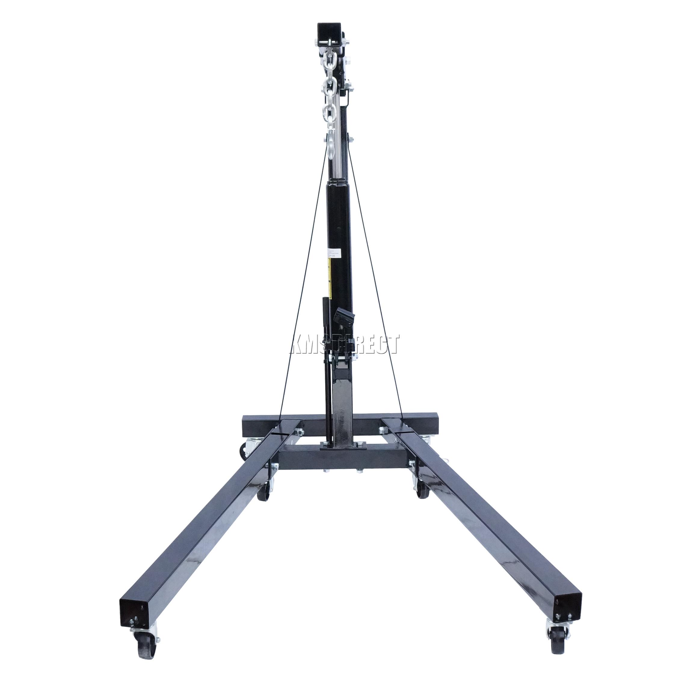 Folding Jack Stands >> FoxHunter 2 Ton Tonne Hydraulic Folding Engine Crane Stand Hoist lift Jack Black | eBay