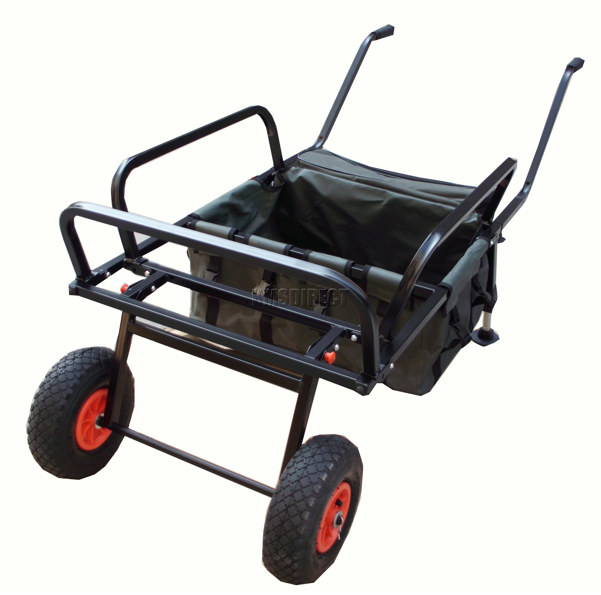 Fishing trolley 2 pneumatic wheel folding barrow cart with for Folding fishing cart