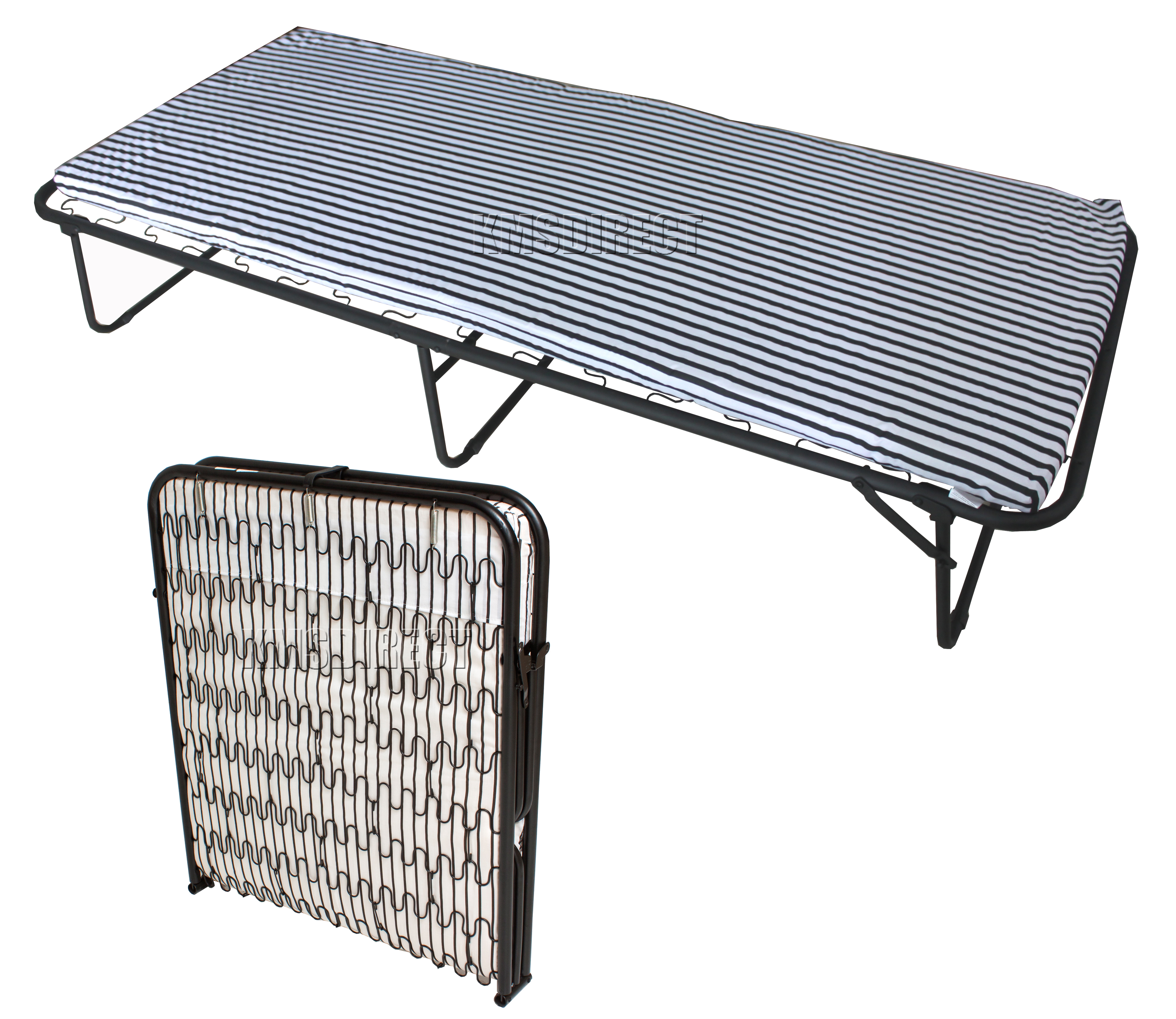Foxhunter Metal Single Folding Guest Visitor Compact Bed With Mattress Fold Away Ebay