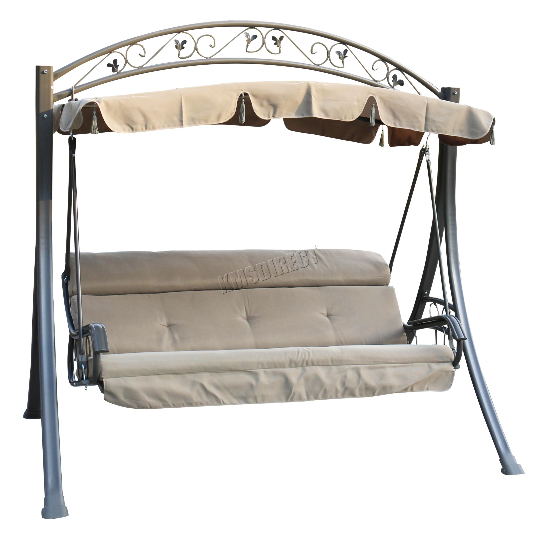 Foxhunter Garden Metal Swing Hammock 3 Seater Chair Bench Patio Outdoor Fhsc03 Ebay