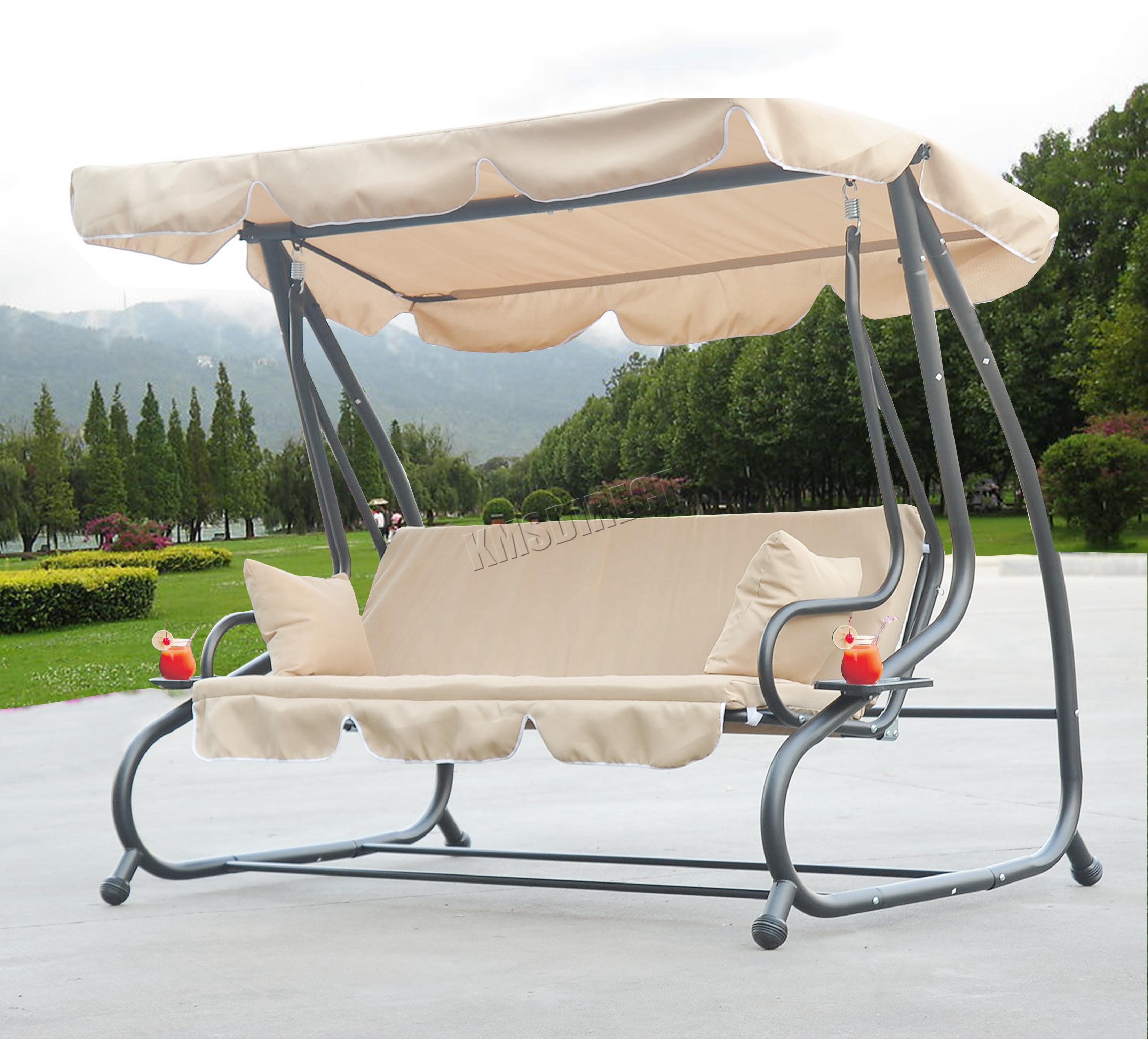 Foxhunter Beige Garden Metal Swing Hammock 3 Seater Chair Bed Patio