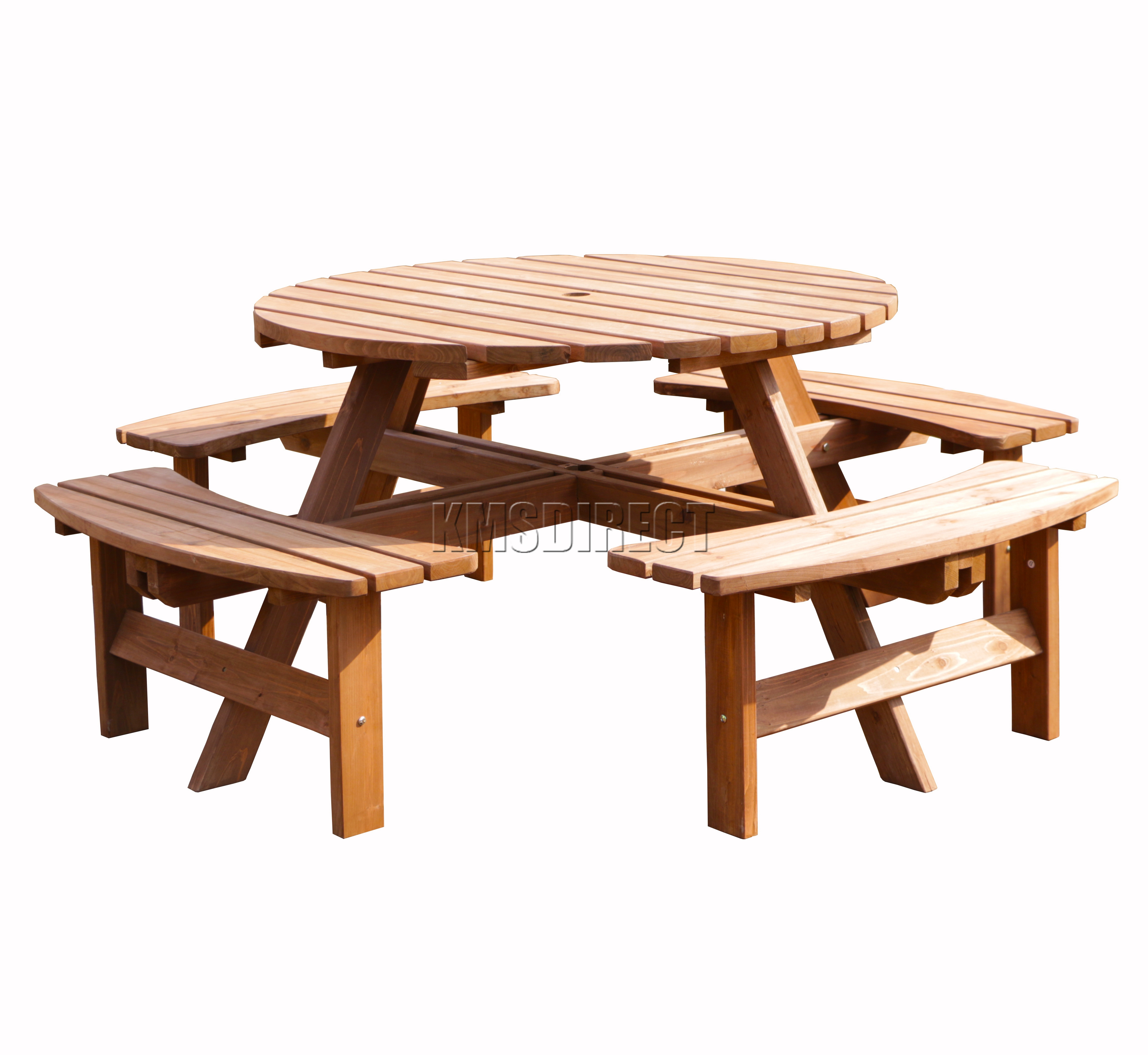 sentinel garden patio 8 seater wooden pub bench round picnic table furniture brown new - Garden Furniture 8 Seater