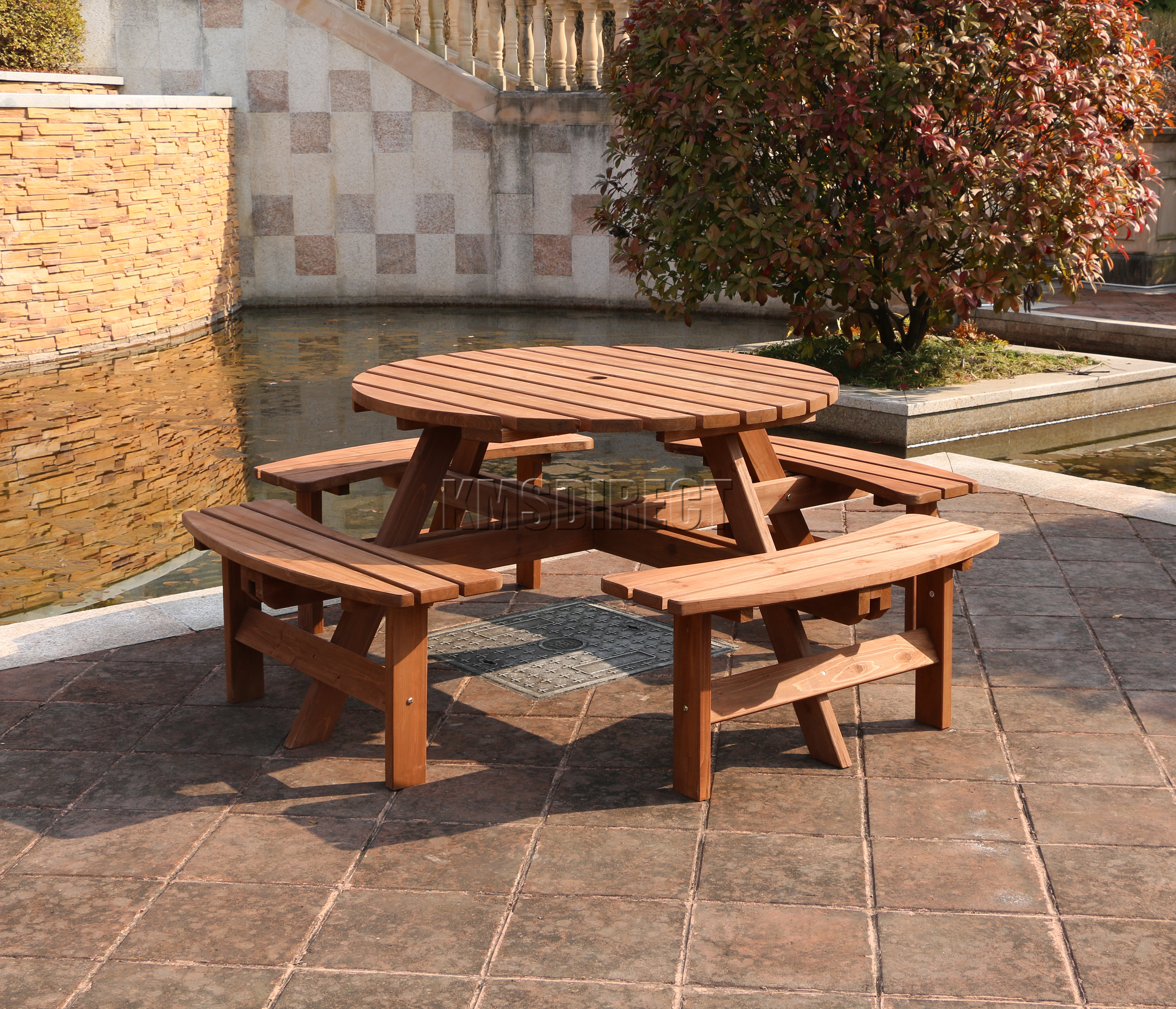 Garden Patio 8 Seater Wooden Pub Bench Round Picnic Table Furniture Brown New Ebay
