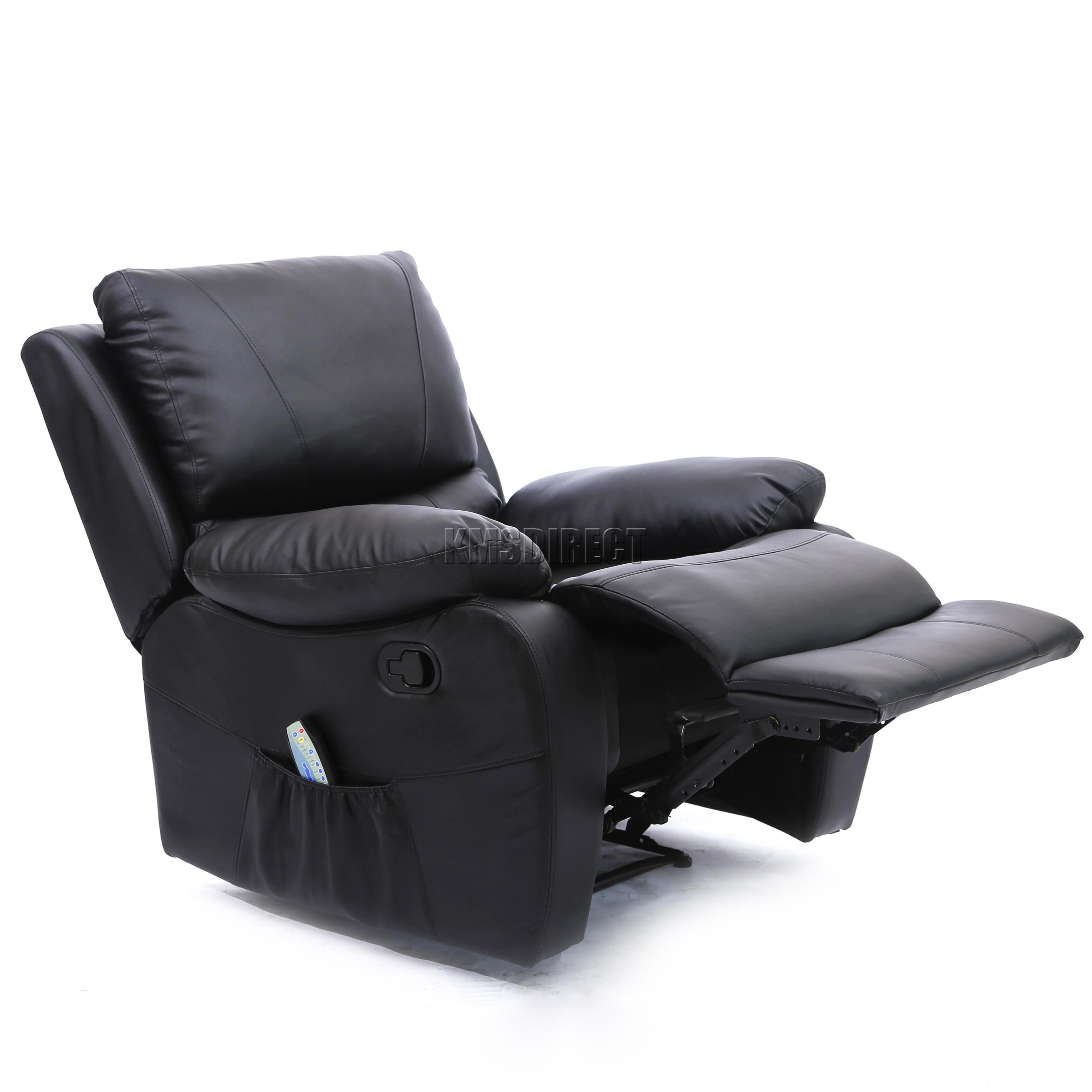 FoxHunter Leather Massage Cinema Recliner Sofa Chair Armchair Heat