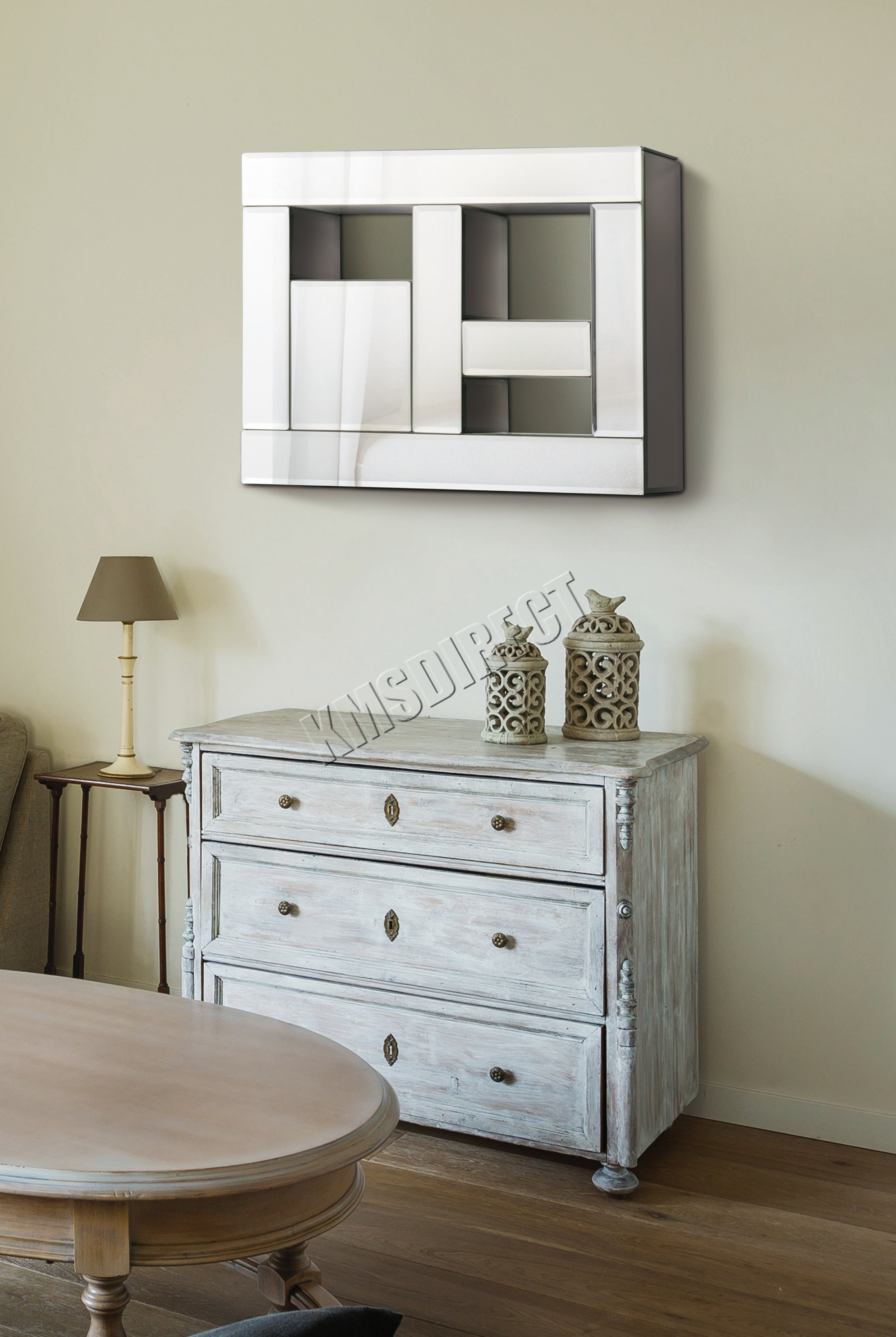 Foxhunter bevelled mirrored furniture glass floating wall mirror image is loading foxhunter bevelled mirrored furniture glass floating wall mirror amipublicfo Image collections