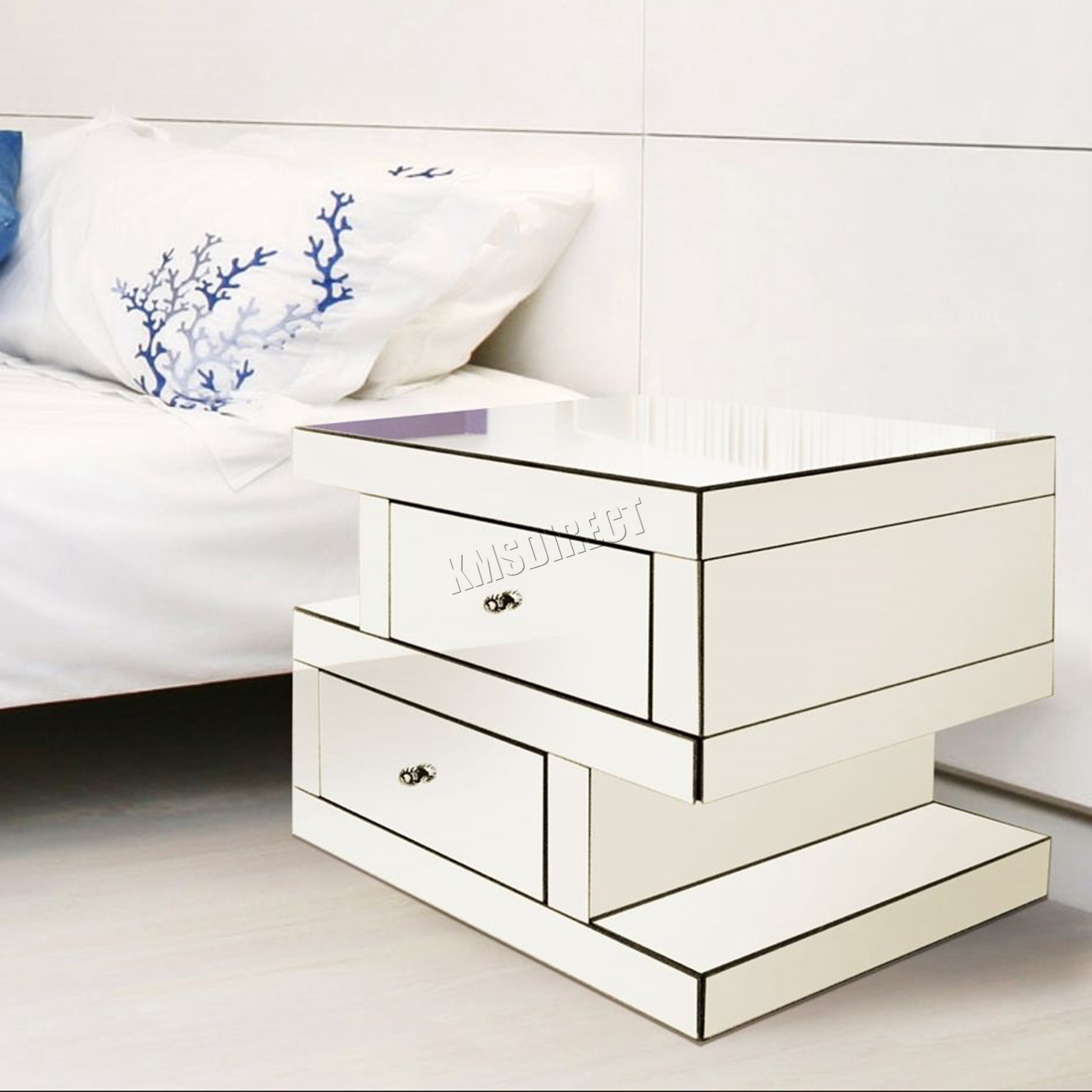 foxhunter mirrored furniture clear glass bedside cabinet 11698 | mirrored side storage table mt04 silver kmswm001