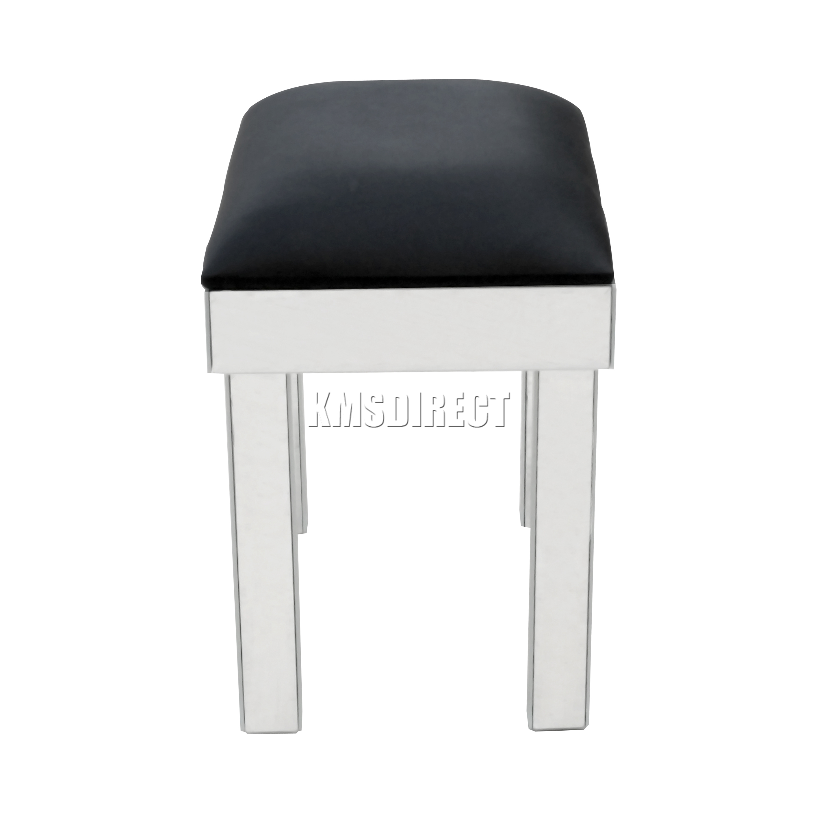 Glass dressing table - Sentinel Foxhunter Mirrored Furniture Glass Dressing Table Stool Black Faux Leather Ms01
