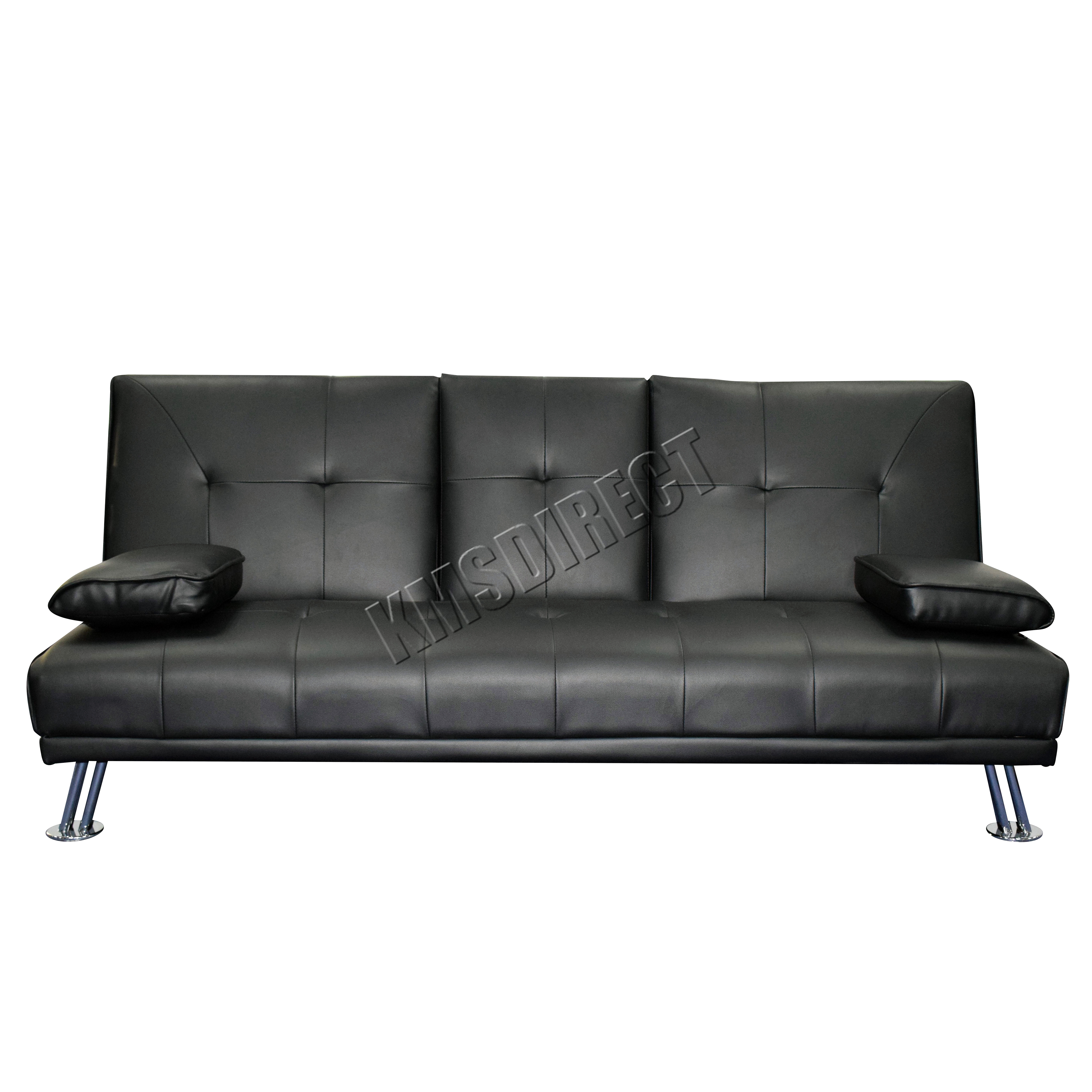 Black Leather Sofa Bed Ebay: Faux Leather Manhattan Sofa Bed Recliner 3 Seater Modern