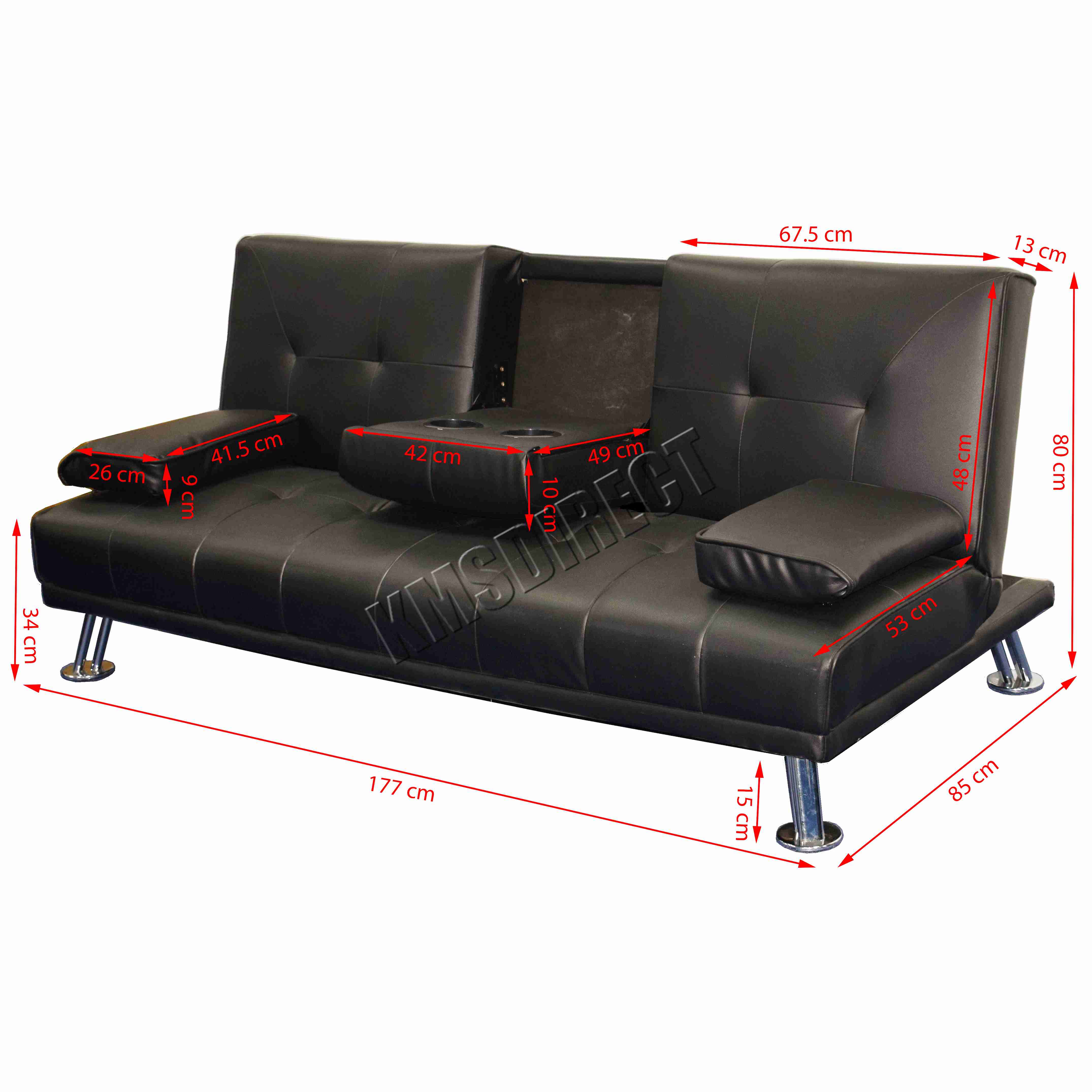 Faux Leather Manhattan Sofa Bed recliner 3 Seater Modern ...