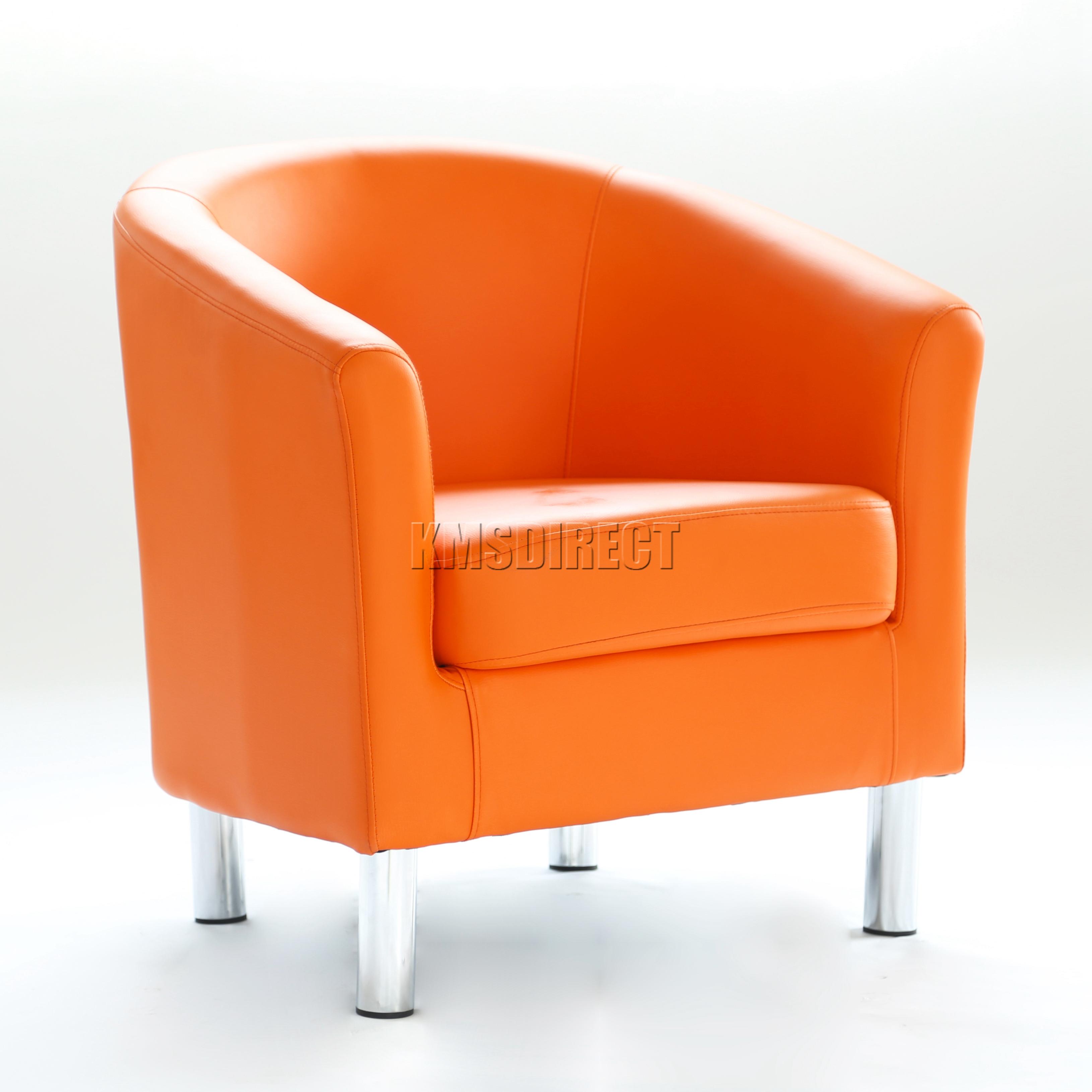 FoxHunter Modern Tub Chair Armchair PU Faux Leather Chrome Leg ...