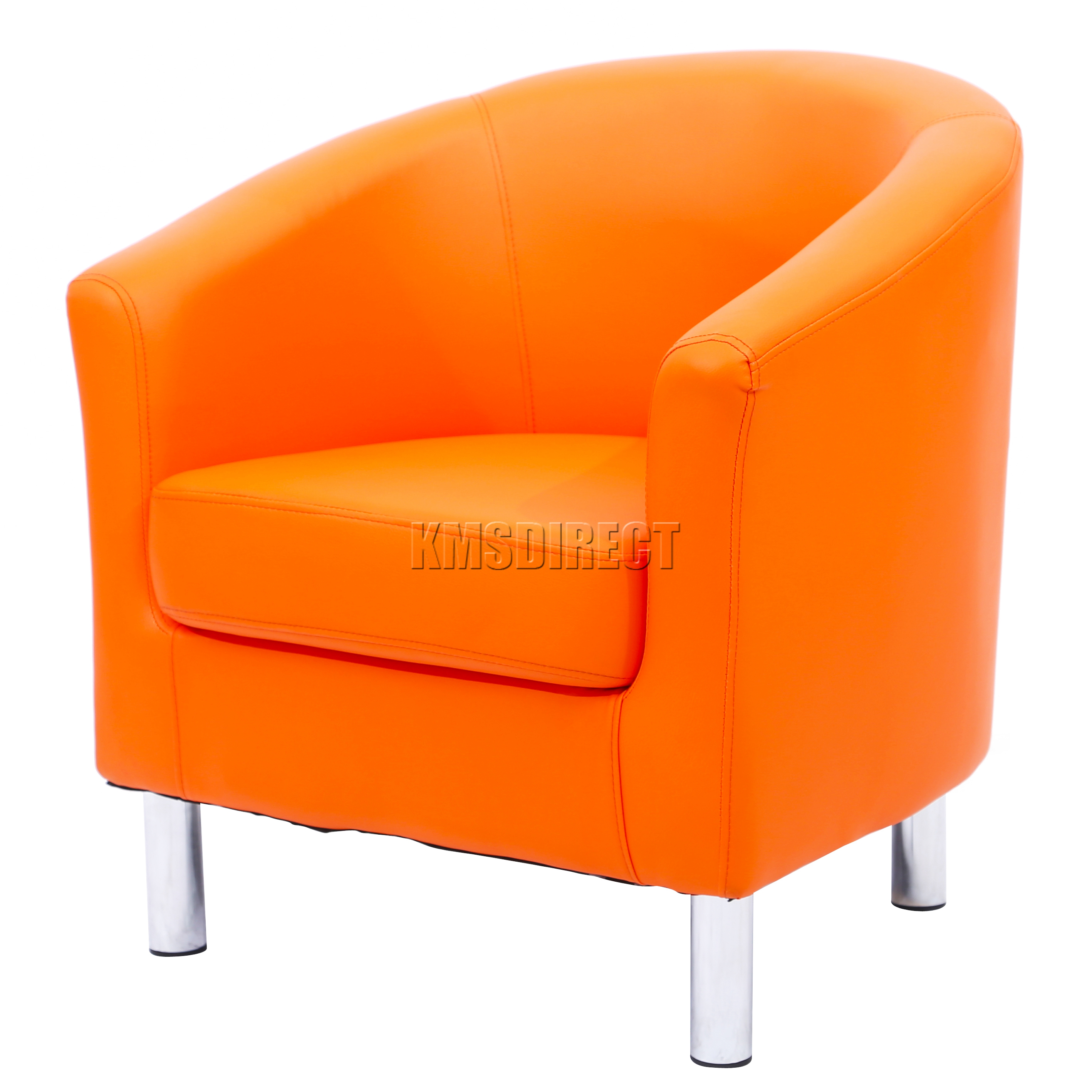 Sentinel FoxHunter Modern Tub Chair Armchair PU Faux Leather Chrome Leg  Dining Orange New