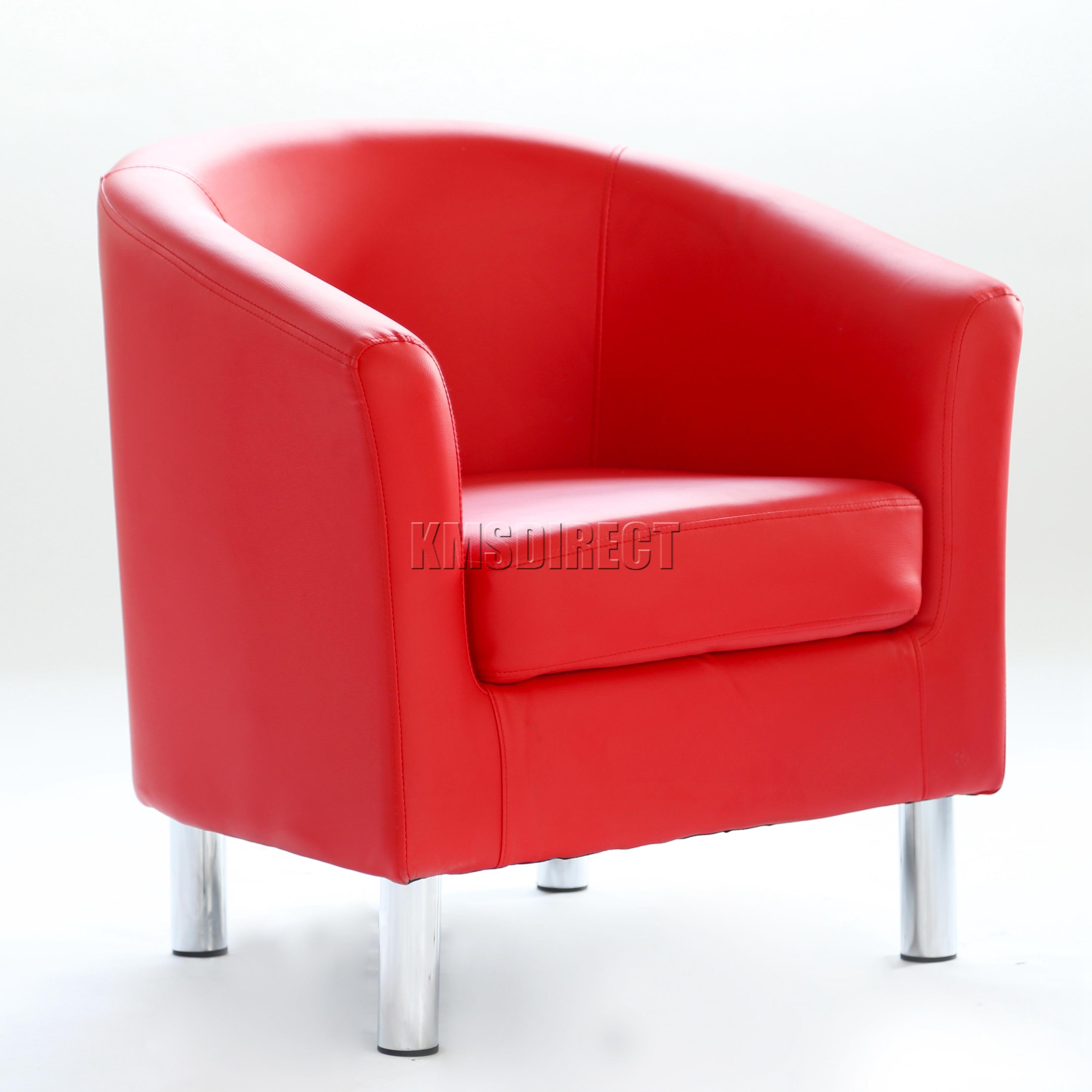 FoxHunter Modern Tub Chair Armchair PU Faux Leather With Chrome