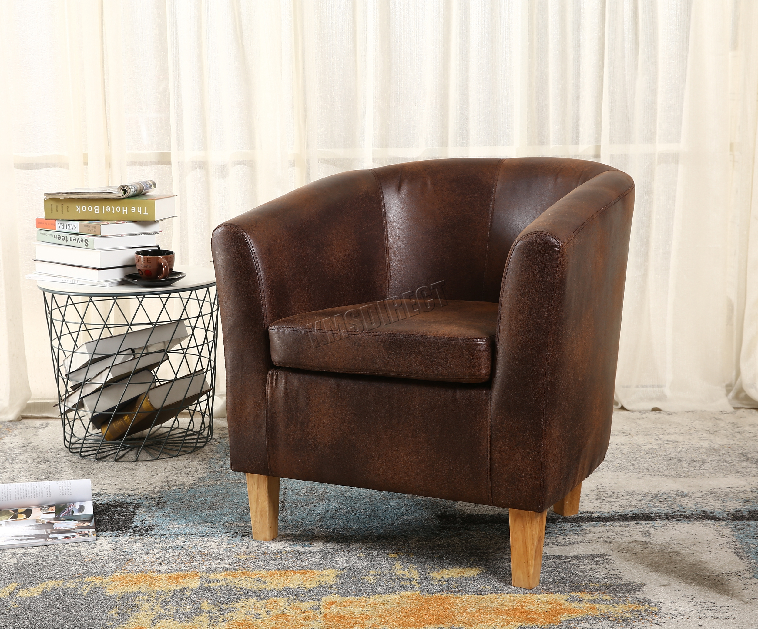 FoxHunter Vintage Brown Faux Leather Tub Chair Armchair Dining