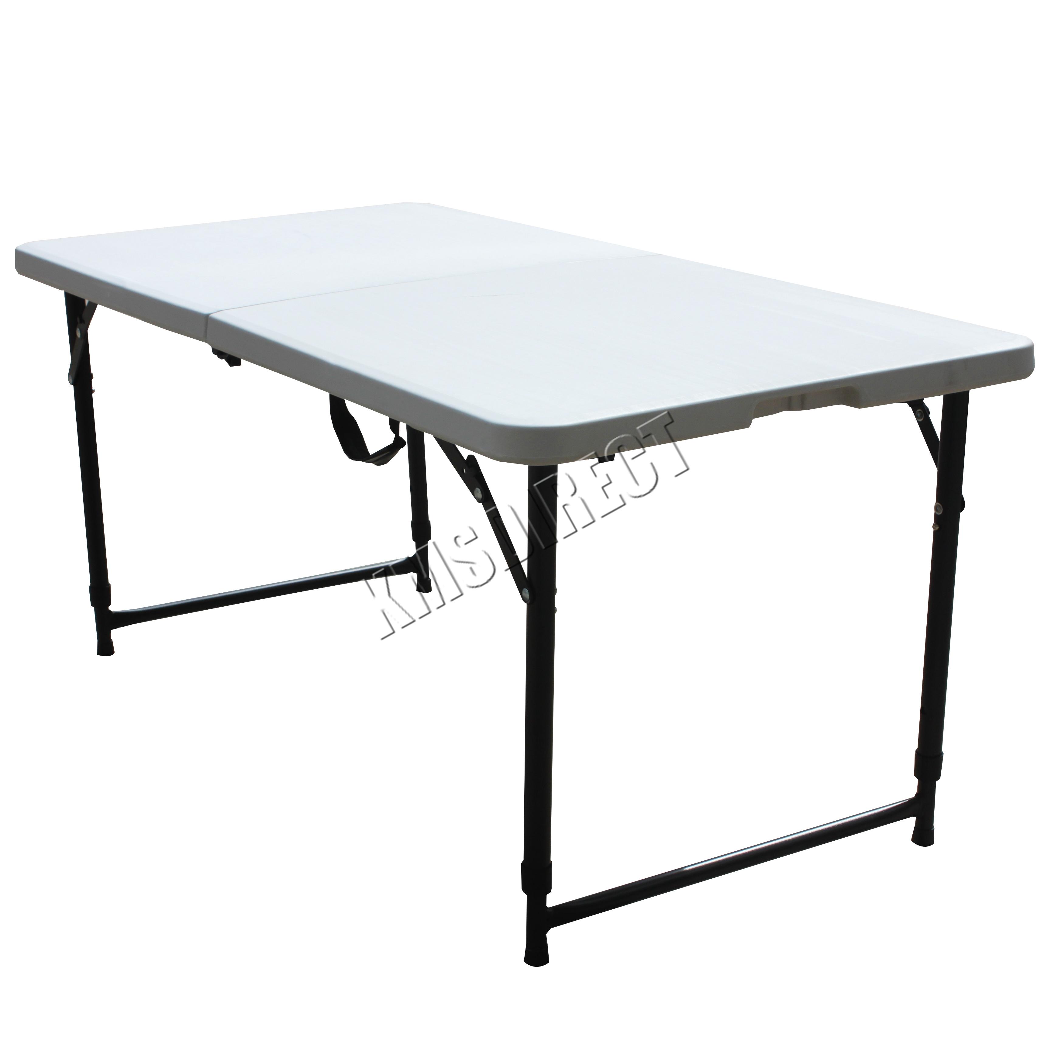 FoxHunter Portable Folding Trestle Table Heavy Duty Plastic