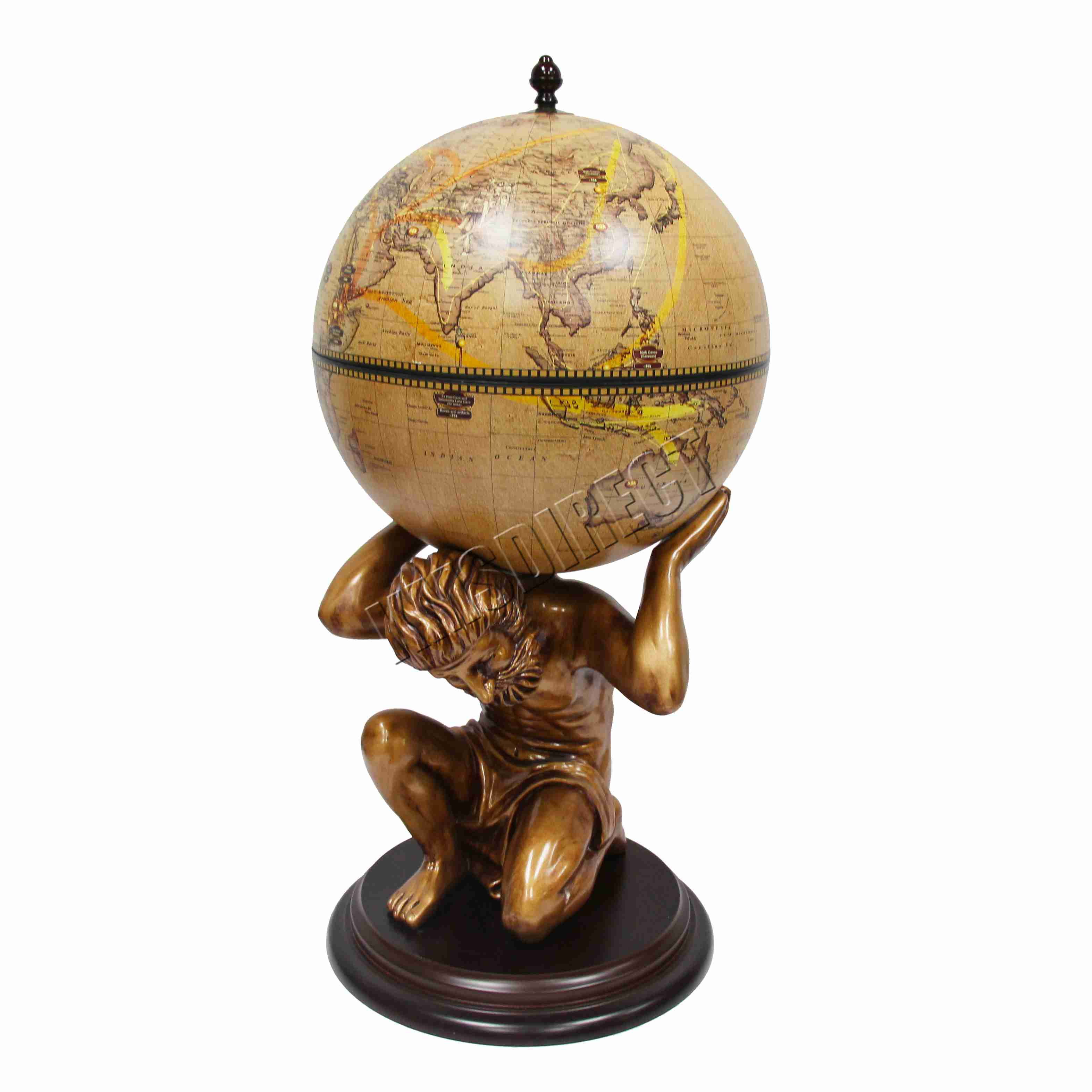 Sentinel Westwood Vintage Globe Mini Bar Atlas Wine Drink Cabinet Antique Storage Bronze