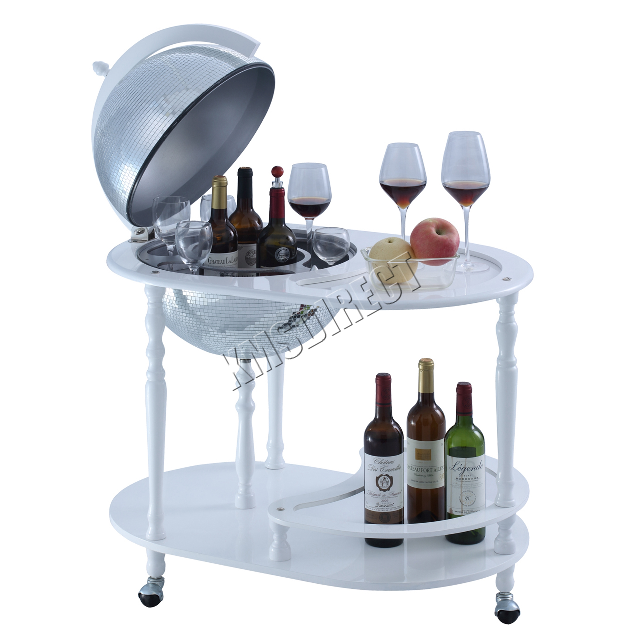 Sentinel Westwood Globe Mini Bar Trolley With Table Drinks Cabinet Bottles 420mm White