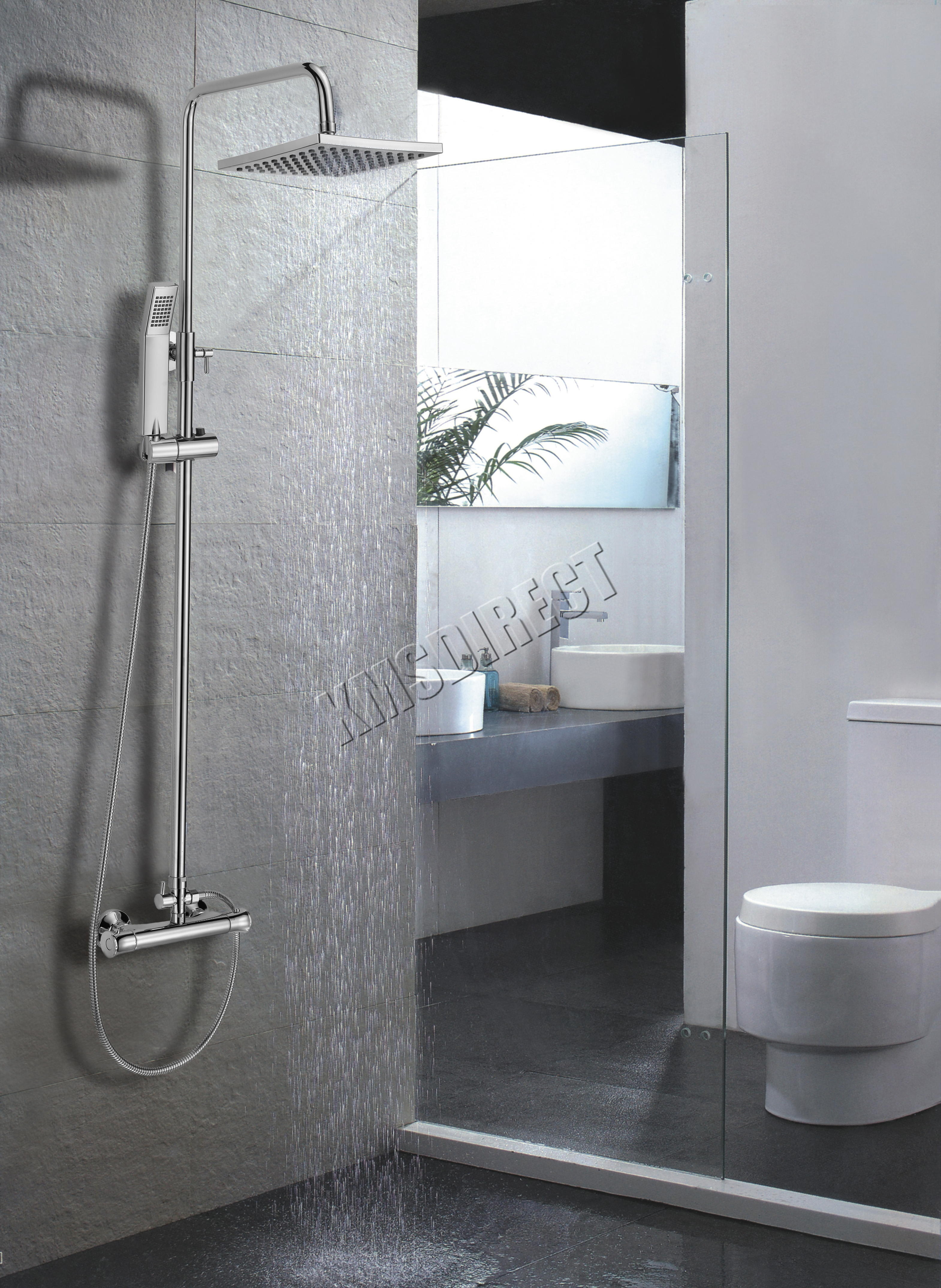FoxHunter Modern Bathroom Mixer Shower Set Twin Head Square Chrome ...