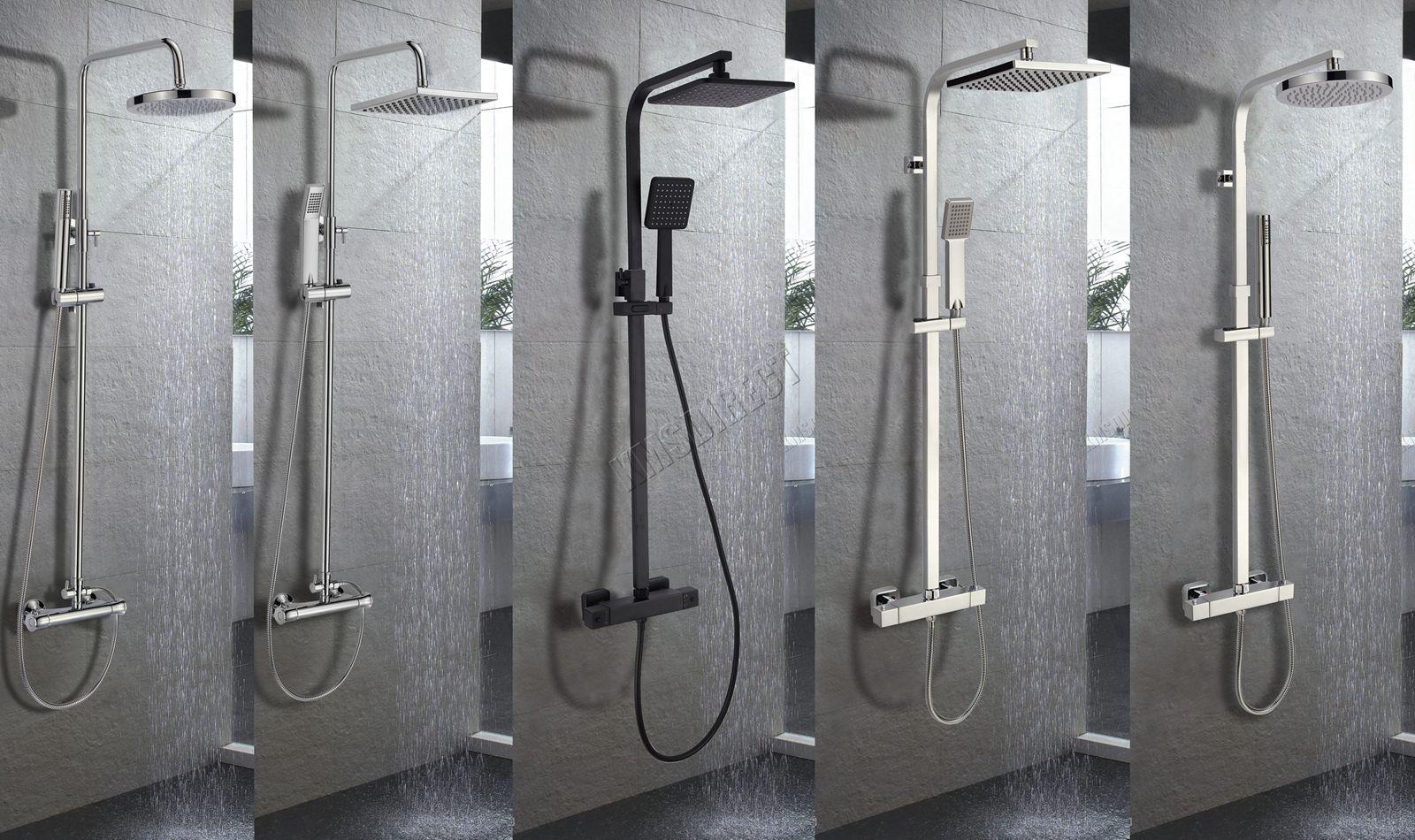 Sentinel Foxhunter Bathroom Mixer Shower Set Twin Head Round Square Chrome Thermostatic