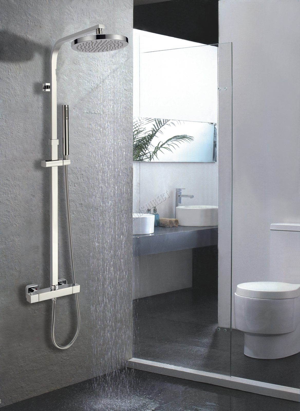 Revetement Mural Salle De Bain Facile A Poser ~ Foxhunter Bathroom Mixer Shower Set Twin Head Round Square Chrome