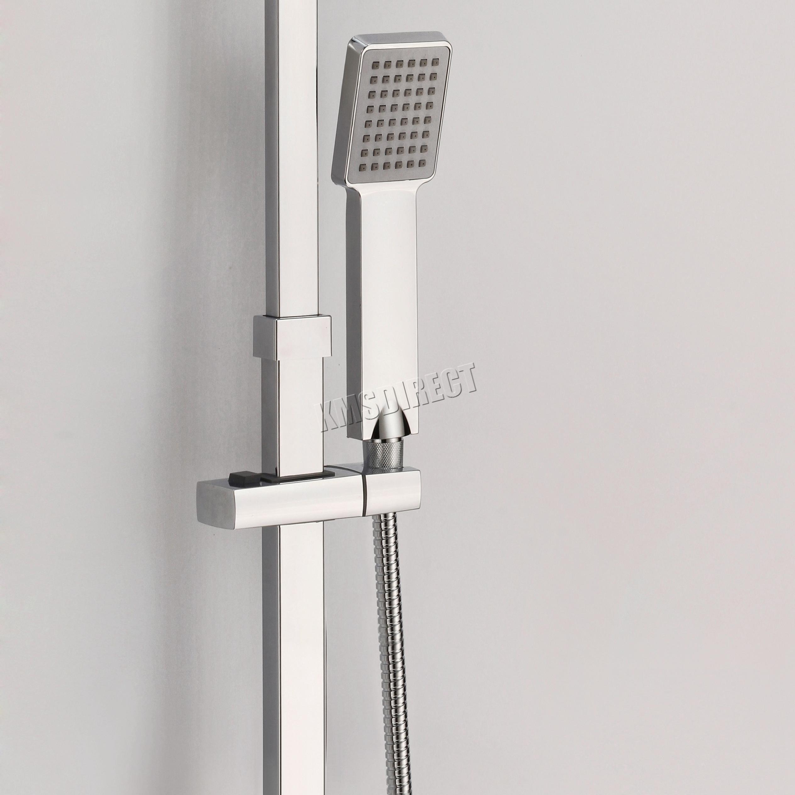 FoxHunter Bathroom Mixer Shower Set Twin Head Round Square Chrome ...