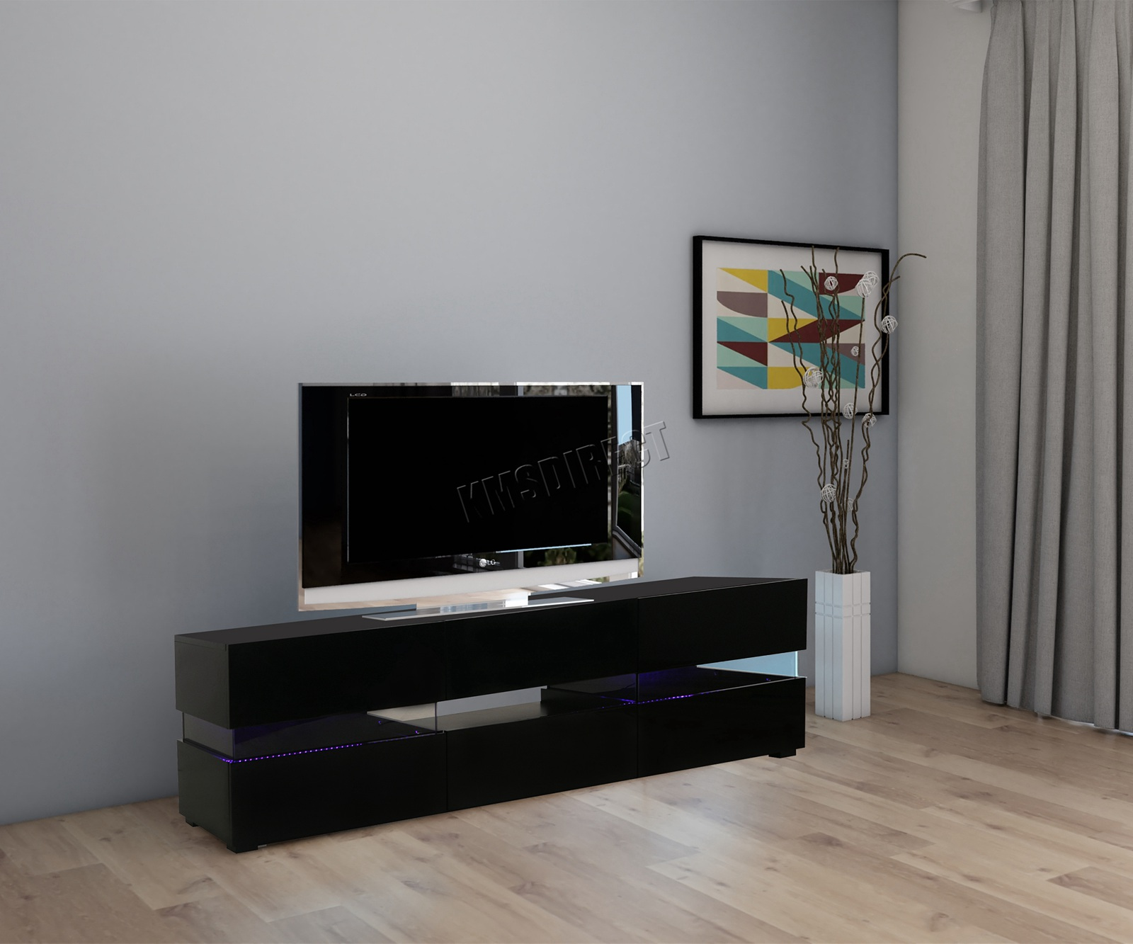 Foxhunter High Gloss Matt Tv Cabinet Unit Stand Rgb Led Light Home  # Table Pour La Television