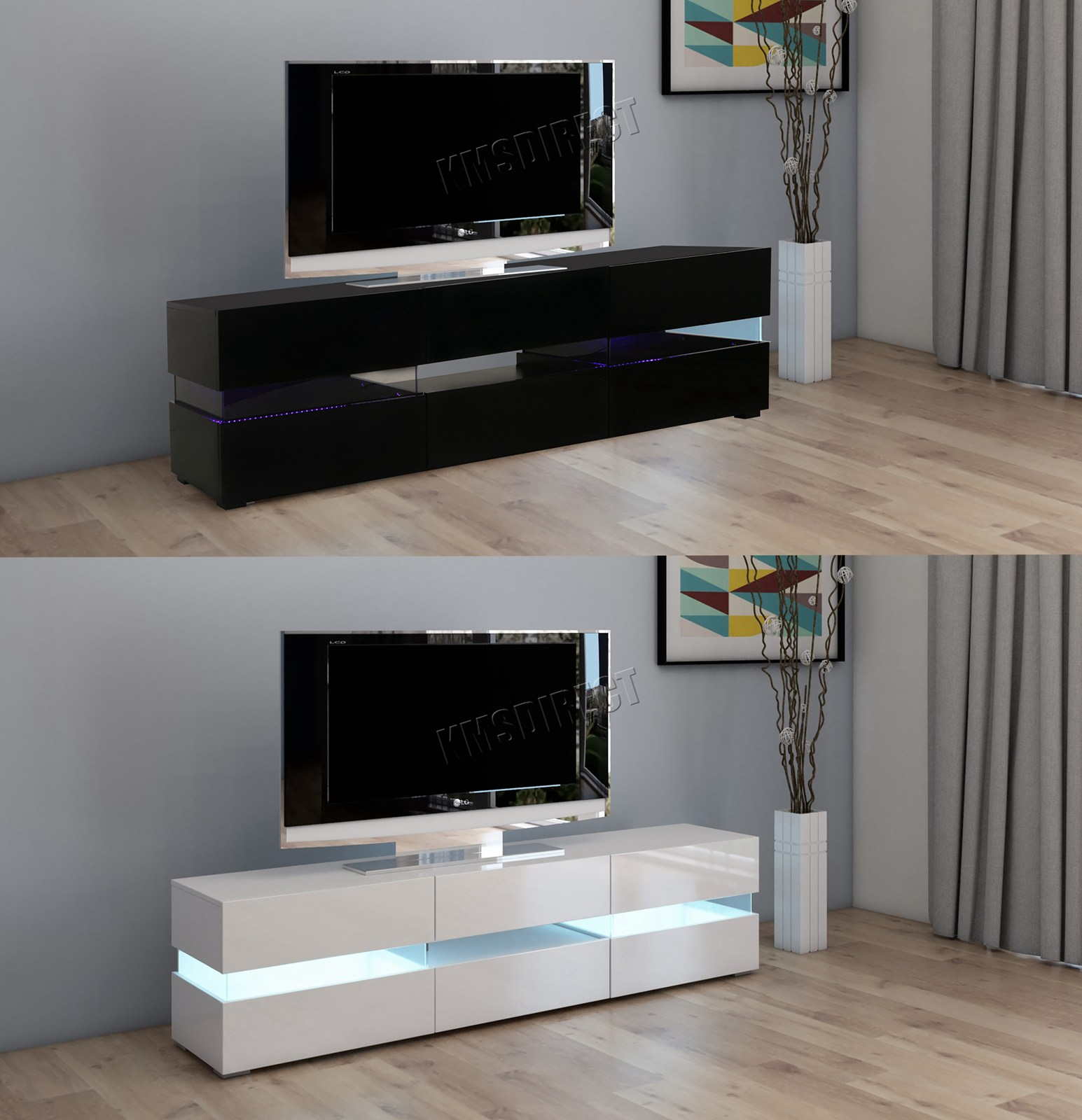 Westwood Modern Led Tv Unit Stand Cabinet High Gloss