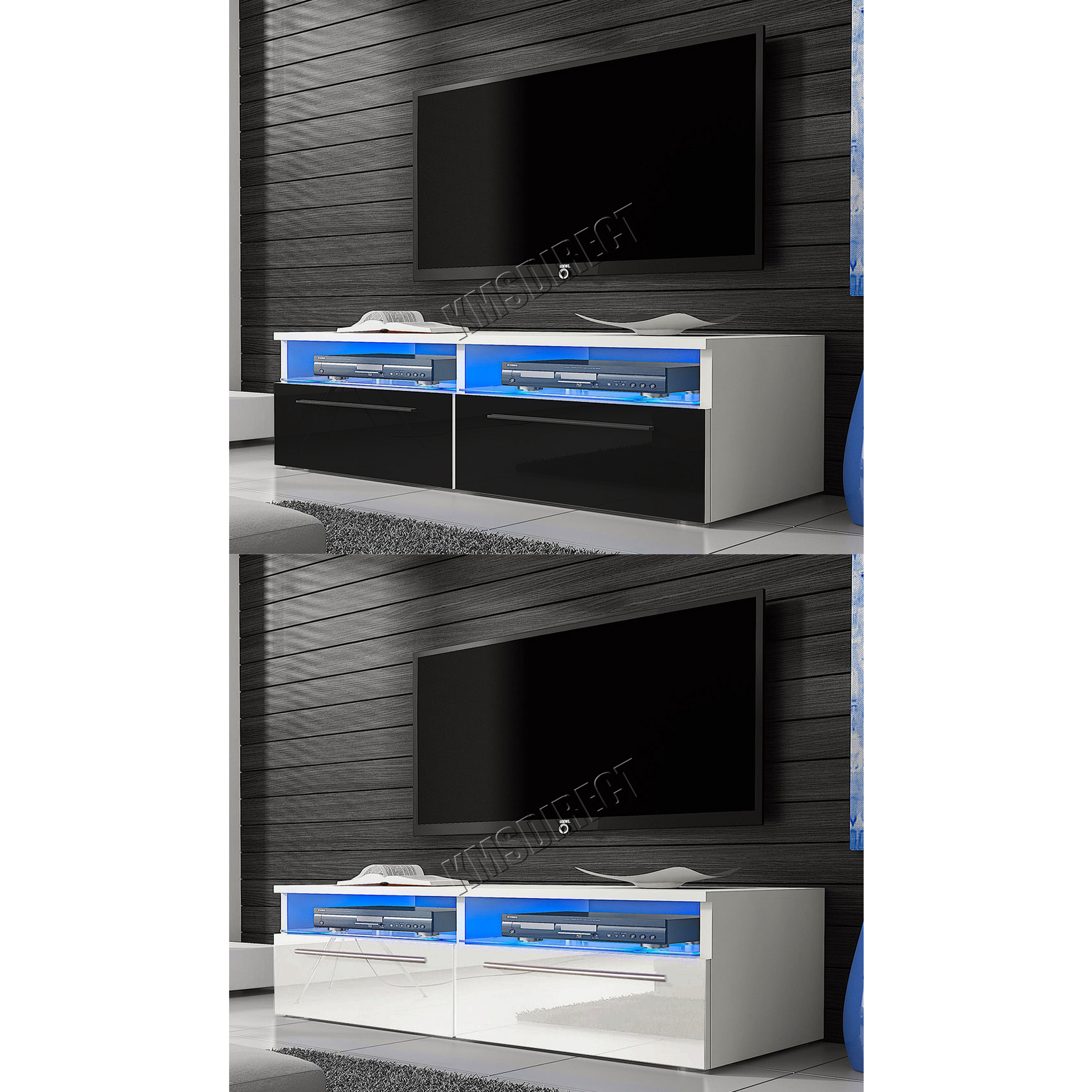 foxhunter modern high gloss matt tv cabinet unit stand blue led light tvc04 new